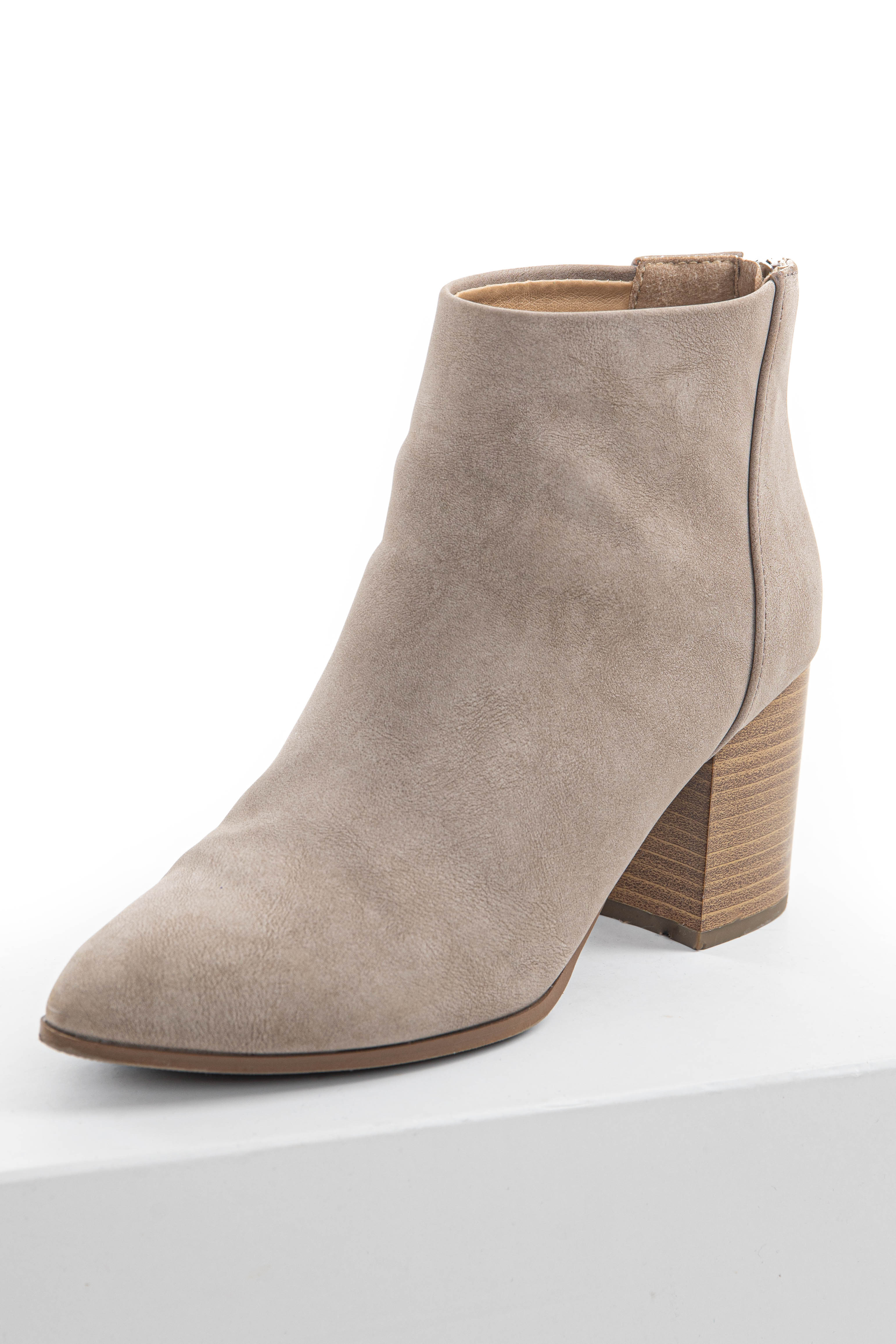 Taupe Faux Leather Pointed Toe Chunky High Heel Booties
