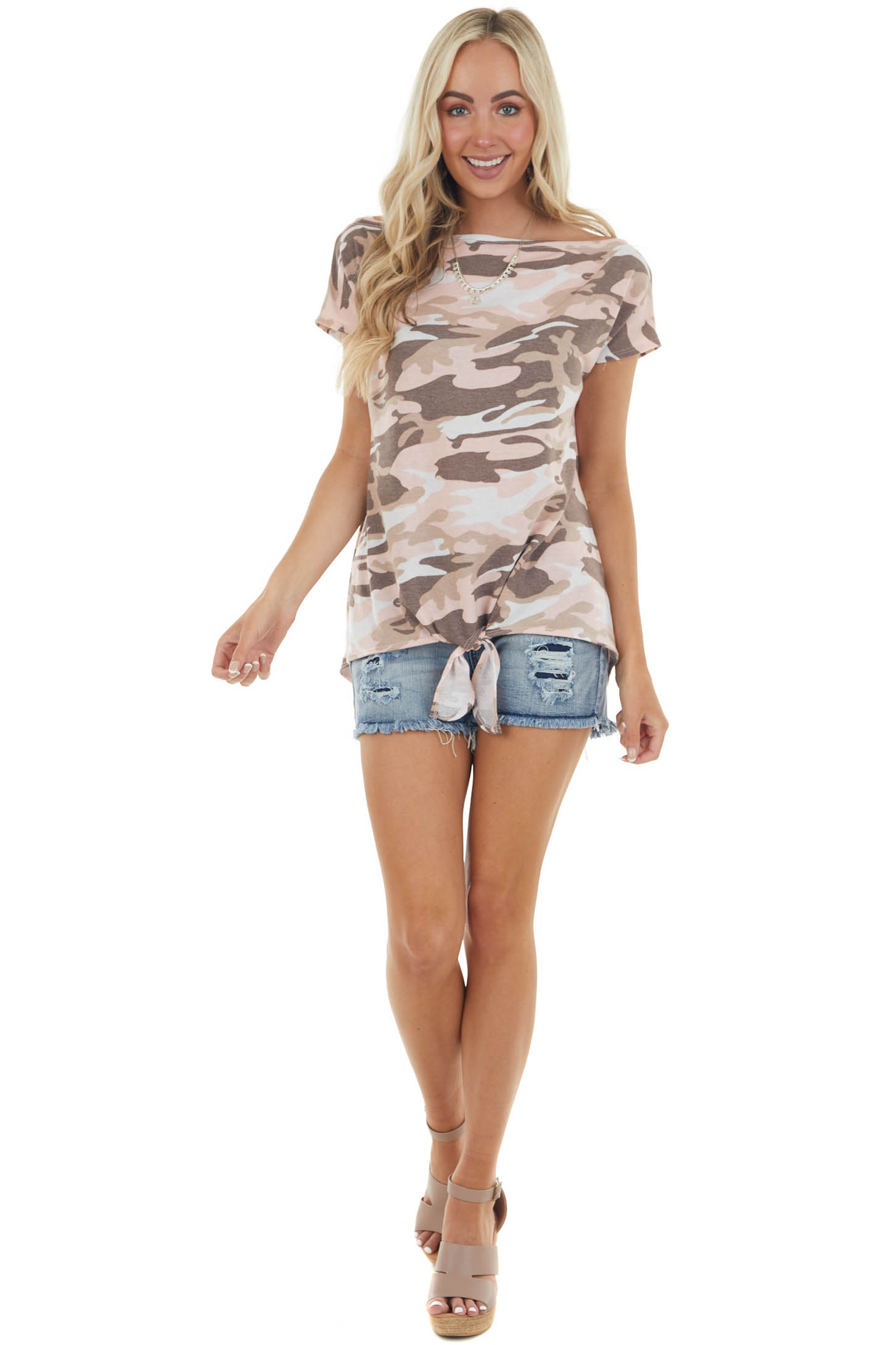 Baby Pink Camo Print Knit Top with Front Tie