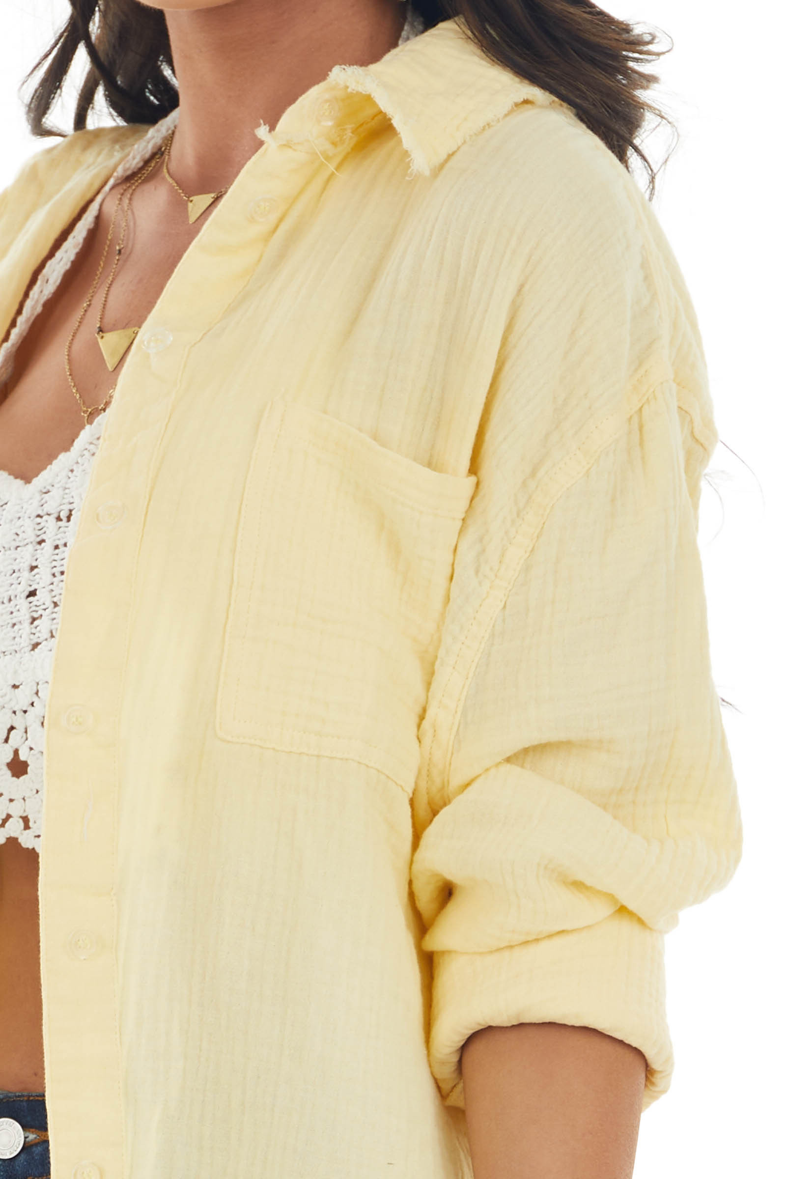 Buttercream Button Up Top with Frayed Details