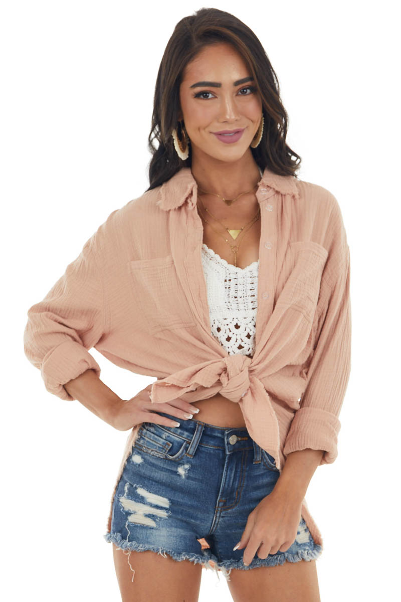 Apricot Button Up Top with Frayed Edges Detail