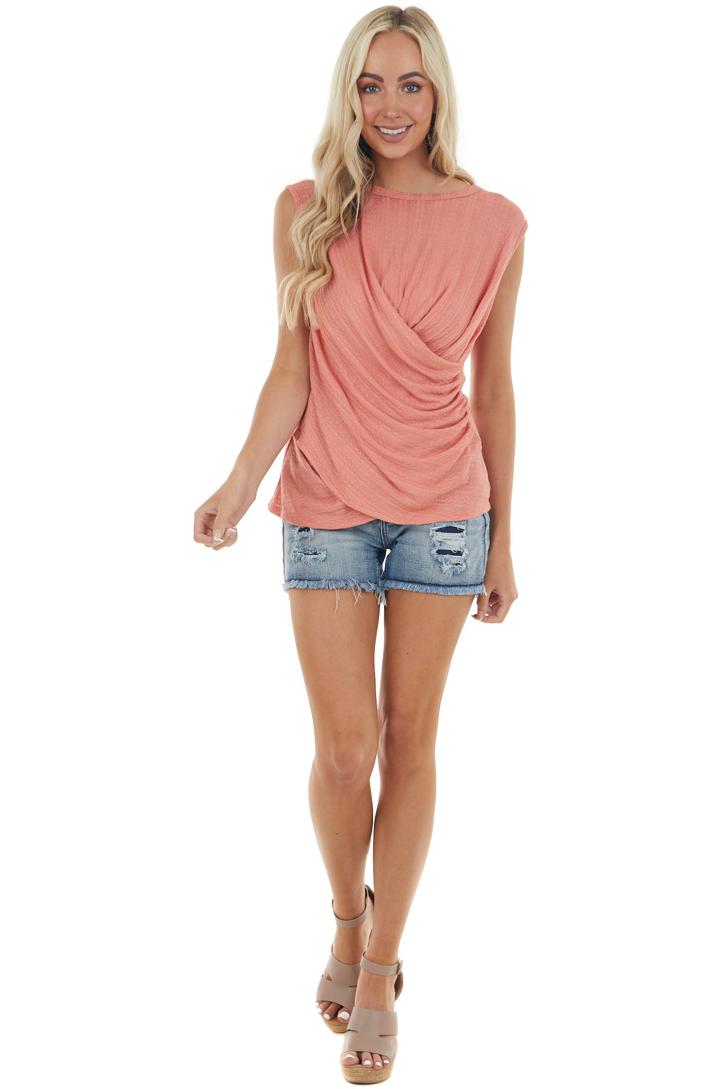 Coral Draped Front Pointelle Knit Tank Top