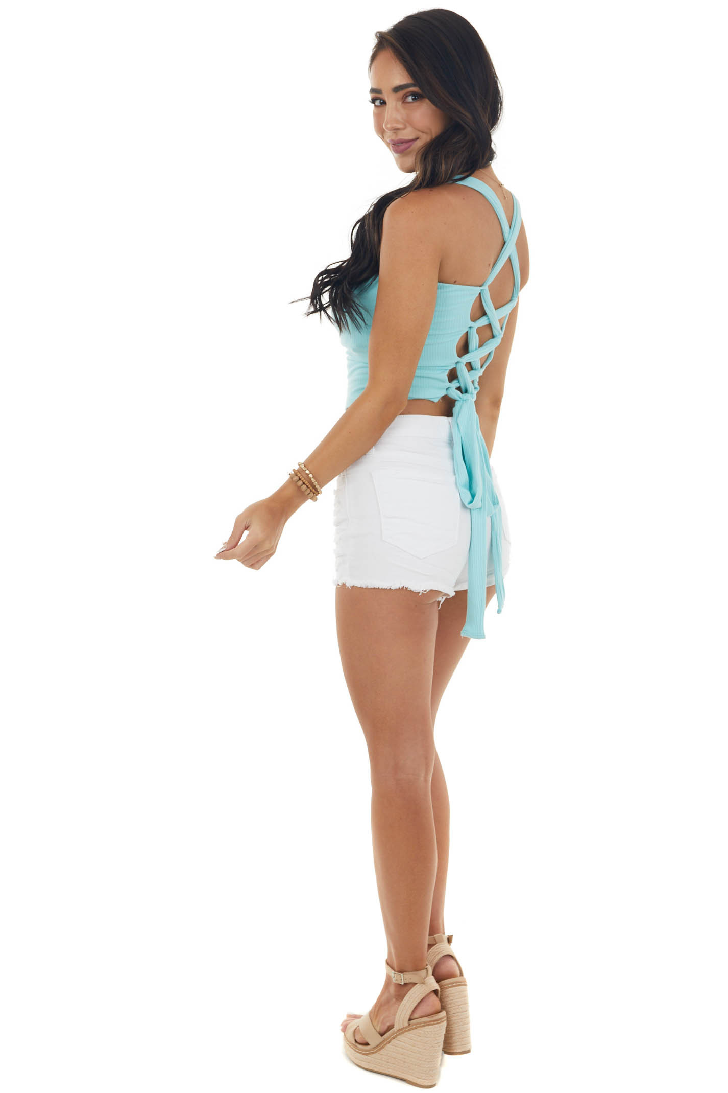 Turquoise Ribbed Knit Tank Top with Side Ties