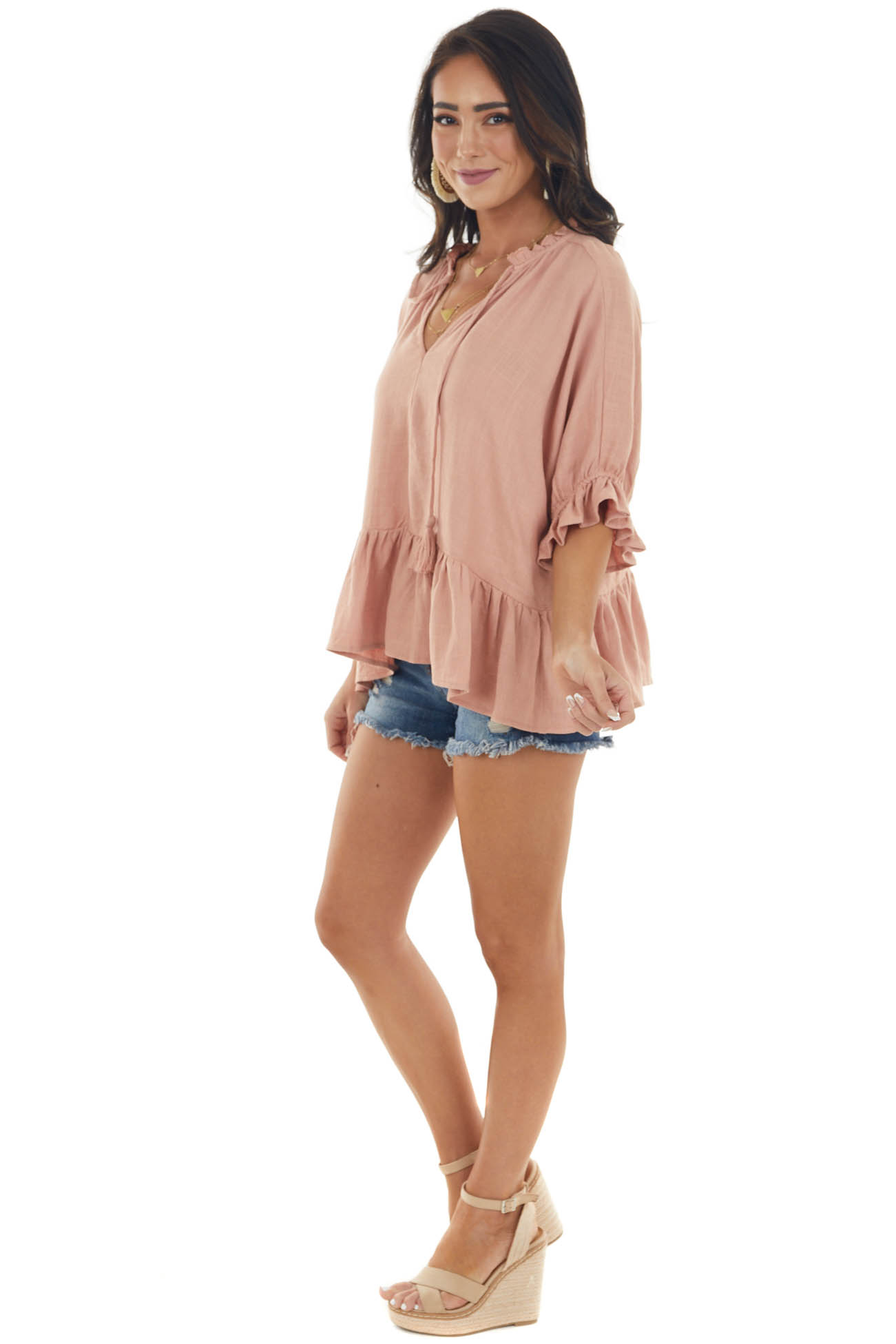 Dusty Melon Textured Blouse with Ruffle Details and Neck Tie