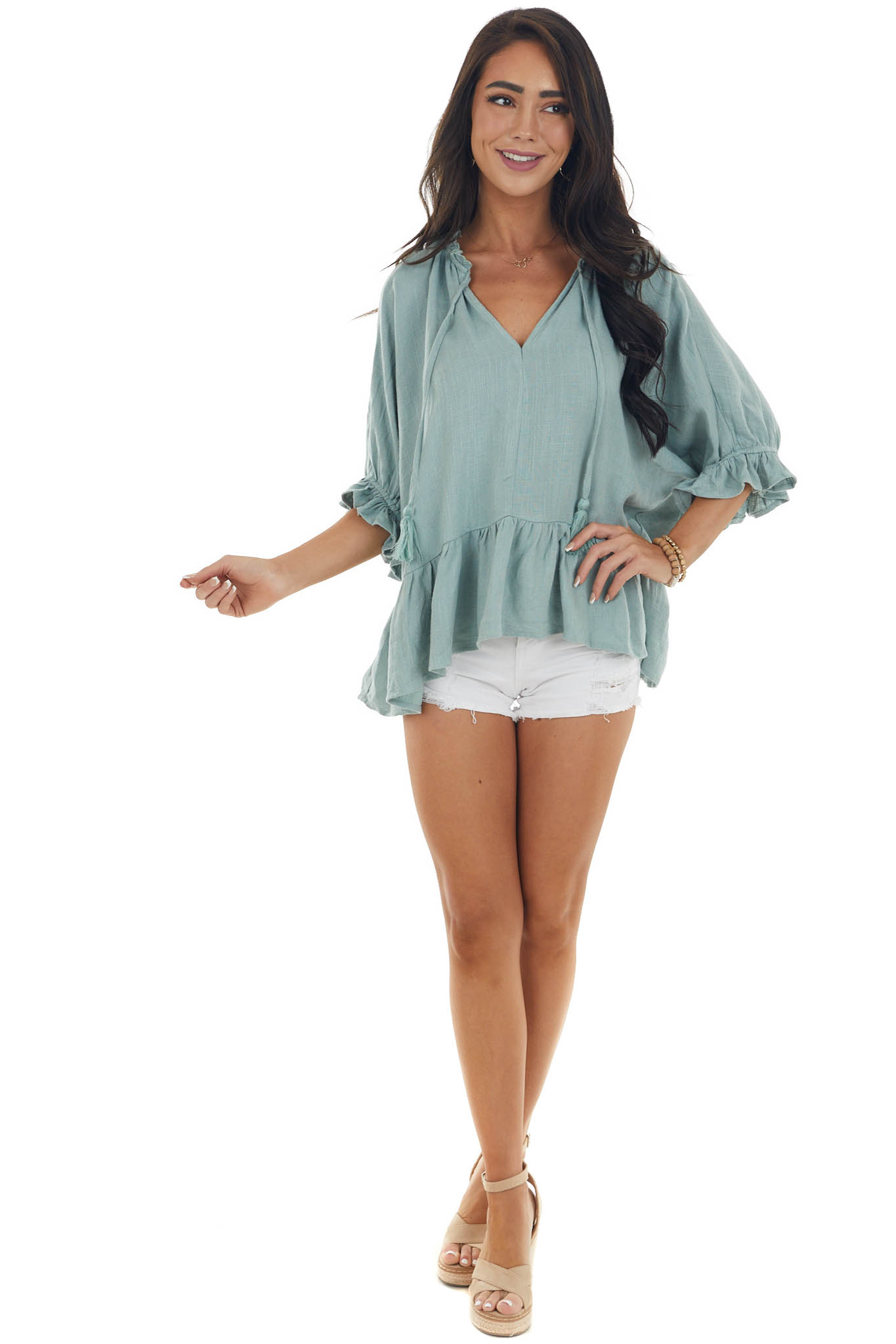 Sage Textured Blouse with Ruffle Details and Neck Tie