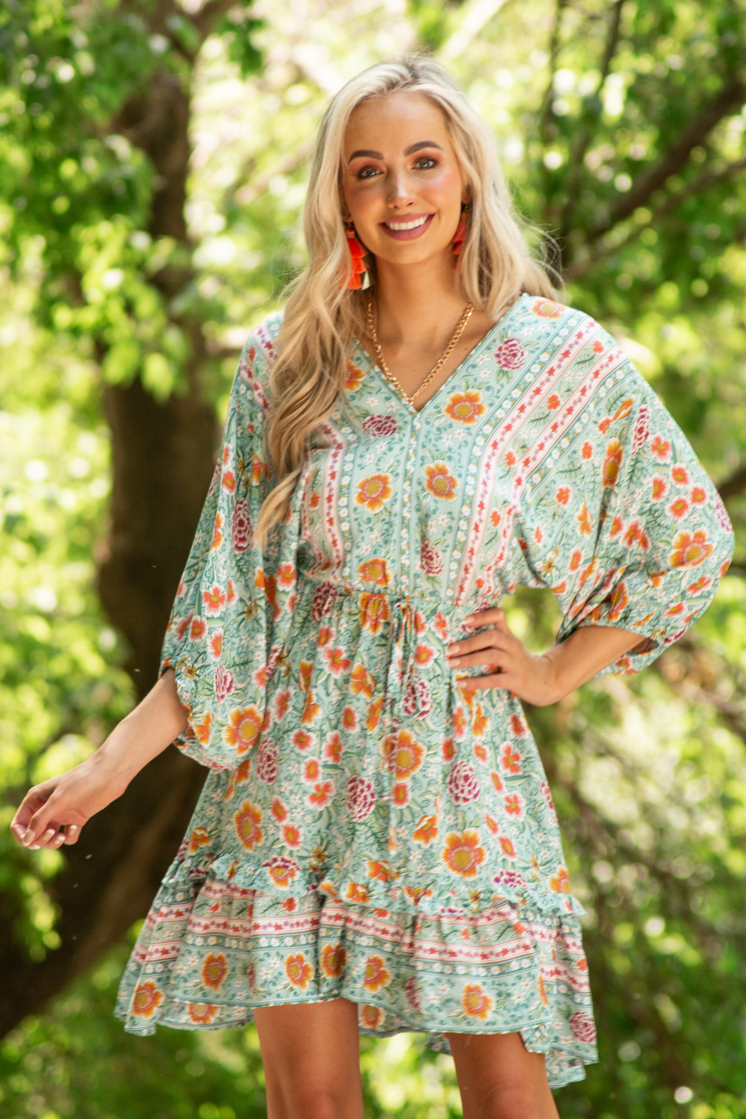 Mint Floral Print Dress with 3/4 Length Bubble Sleeves