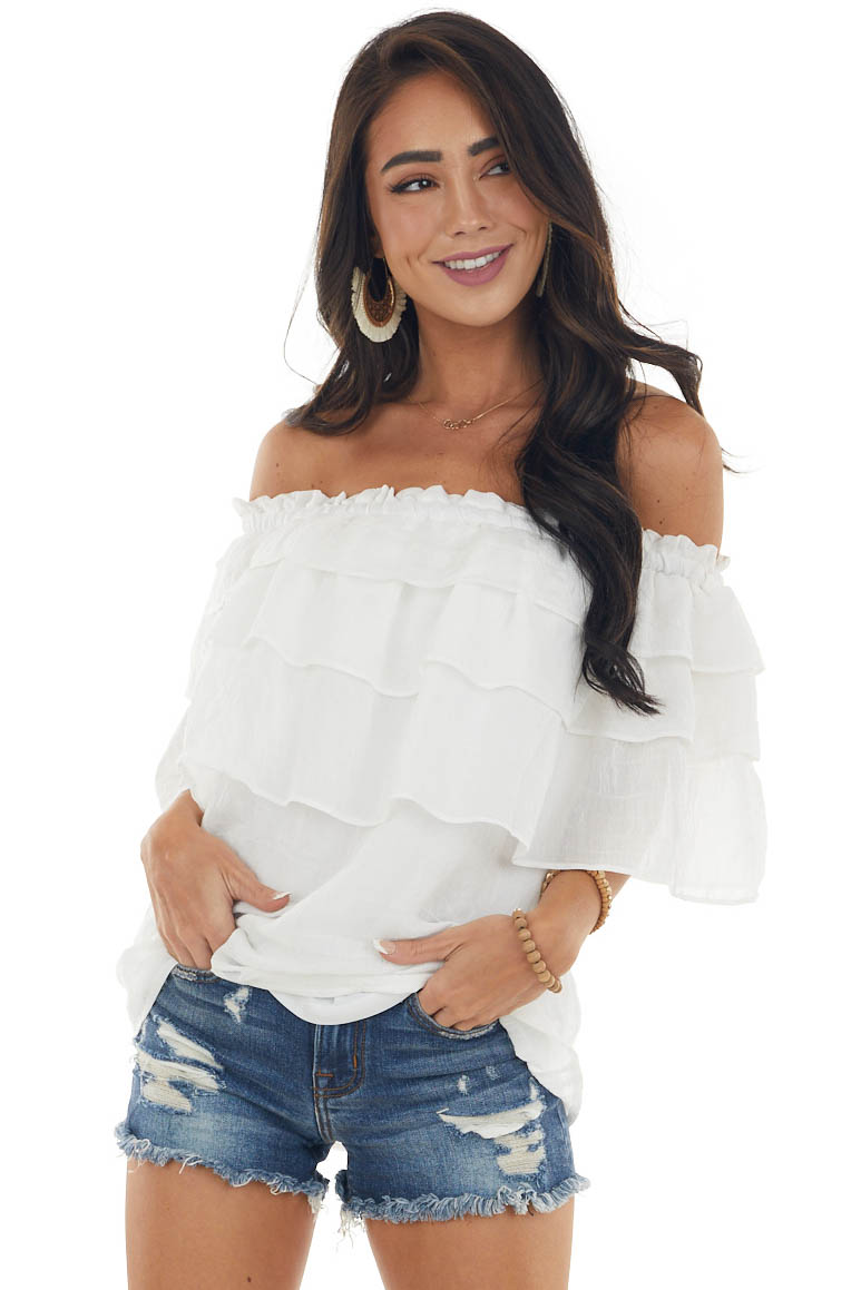 Ivory Off Shoulder Blouse with Ruffle Overlay