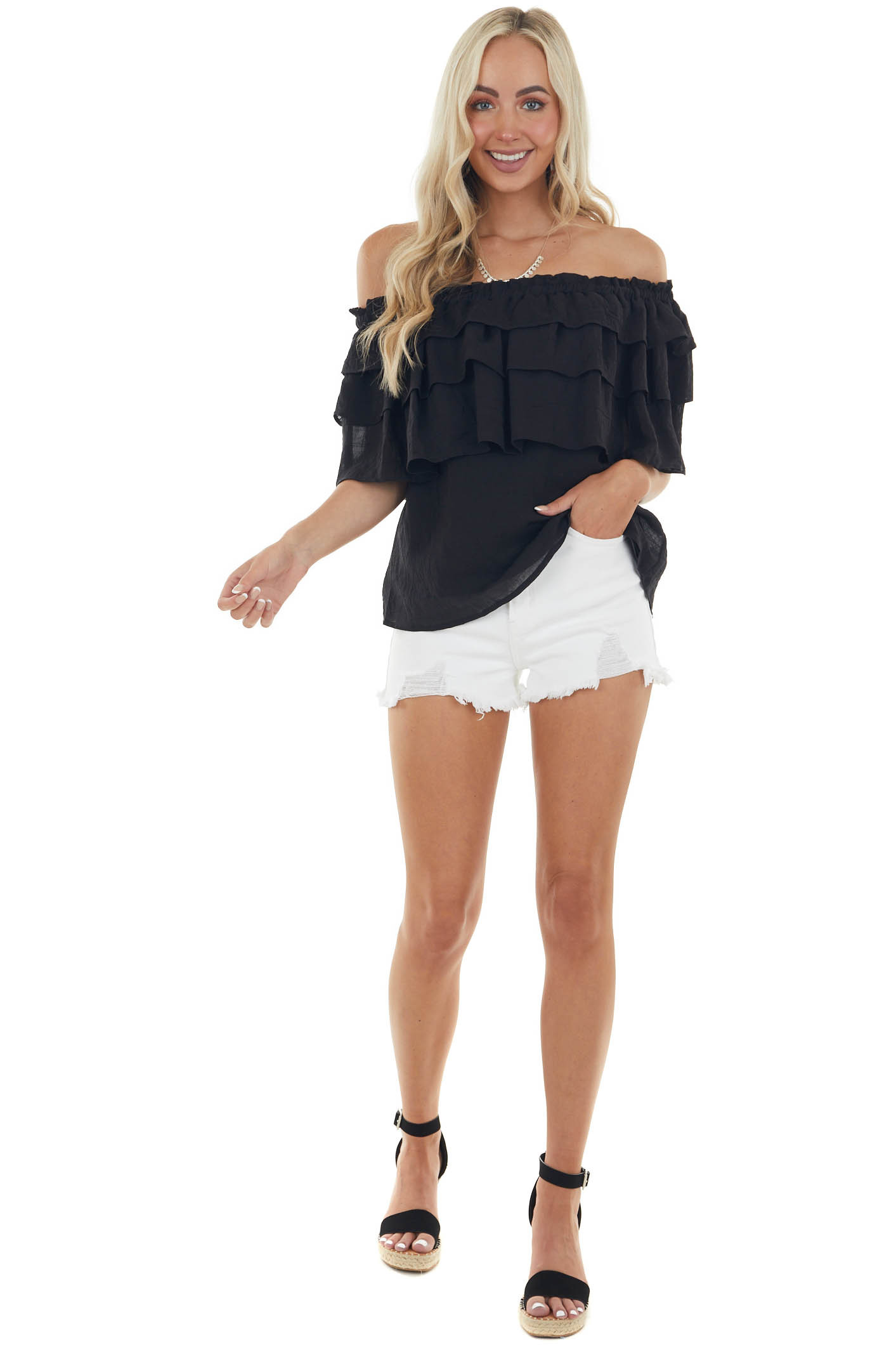 Black Off Shoulder Blouse with Ruffle Overlay