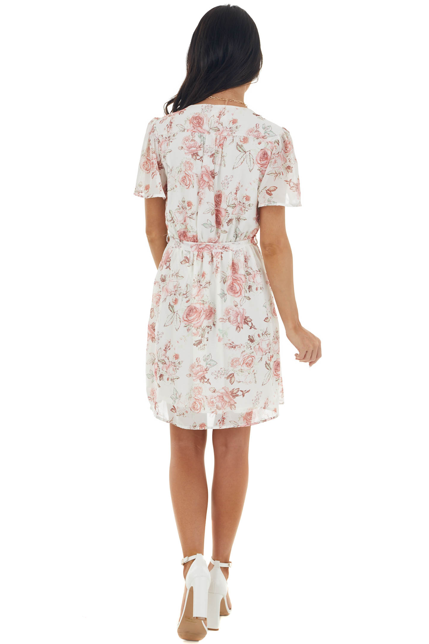 Ivory Floral Surplice Short Dress with Tie