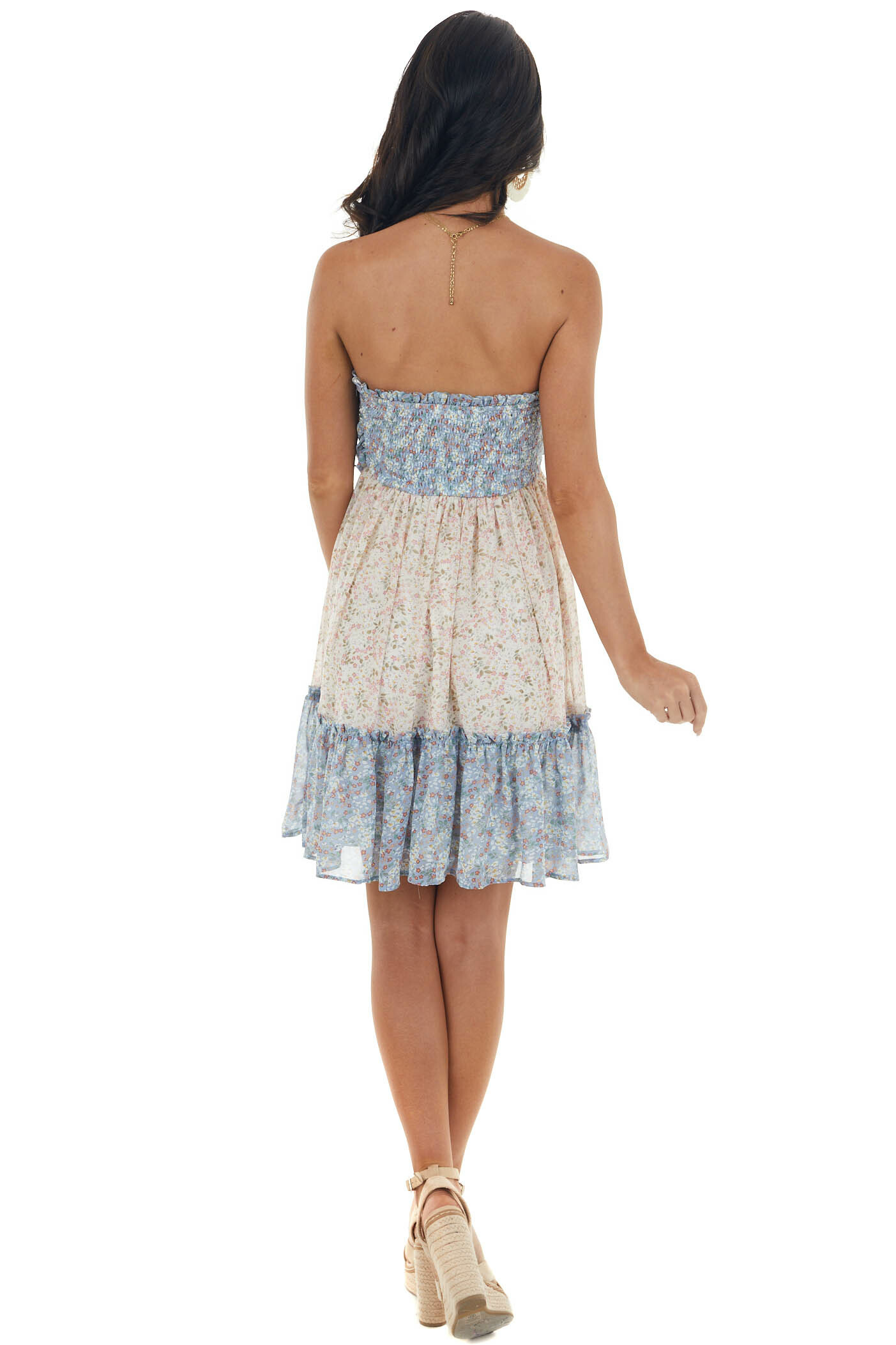 Dusty Blue Ditsy Floral Strapless Mini Dress