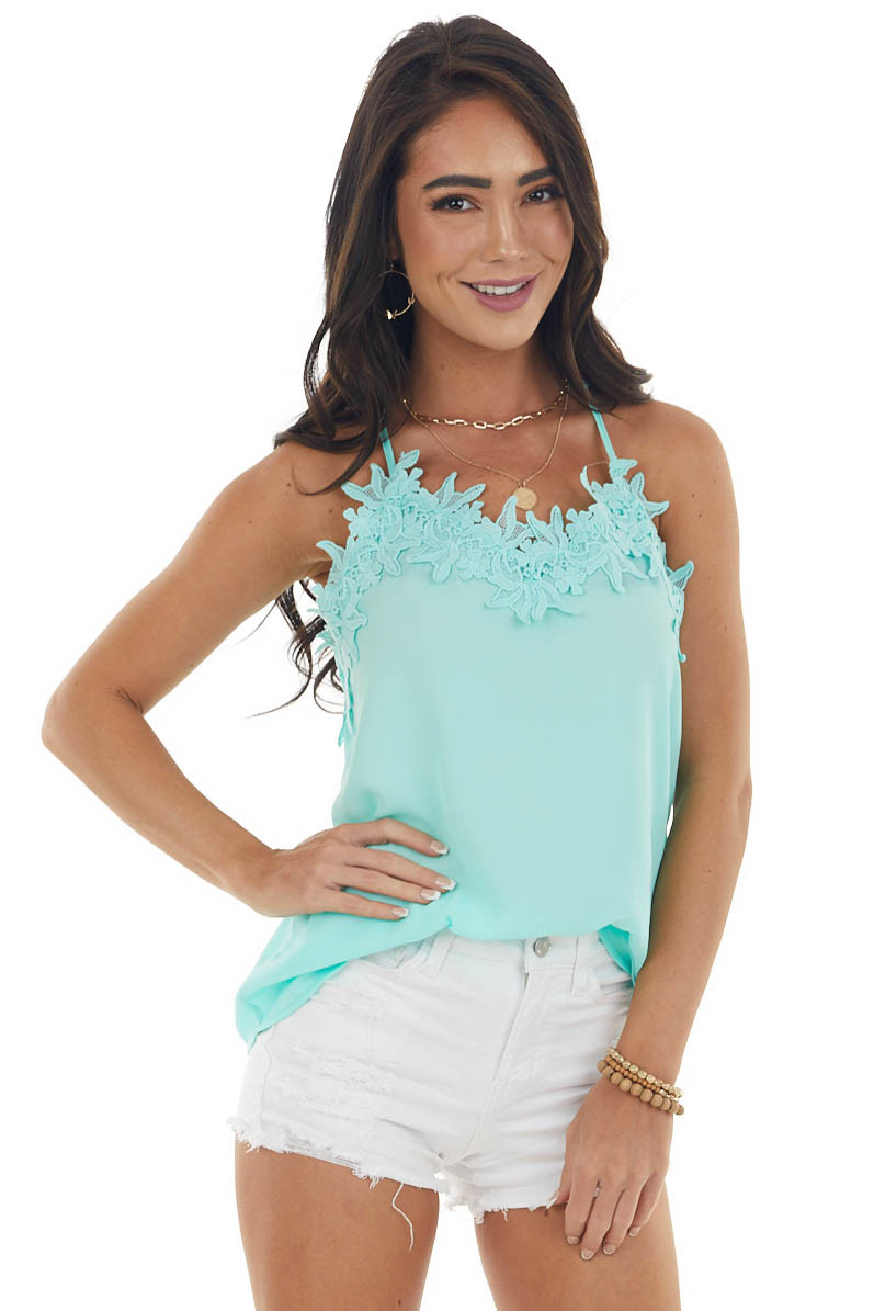 Aquamarine Lace Cami Woven Tank Top with Adjustable Straps
