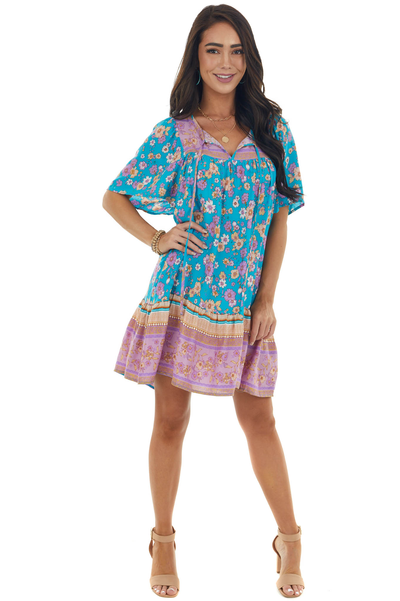 Teal Floral Print Short Dress with Front Tie
