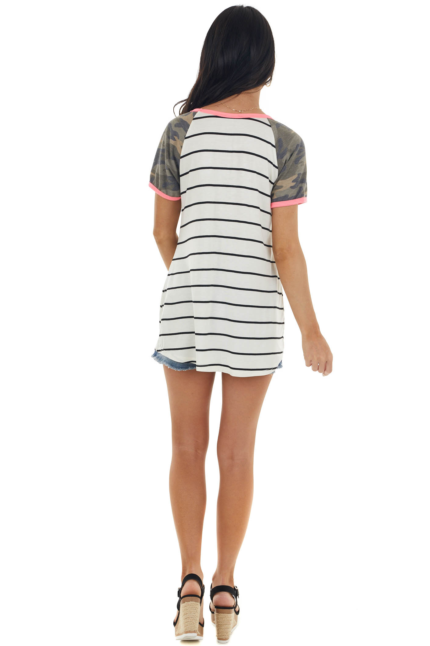 Ivory and Black Striped Knit Top with Camo and Neon Detail