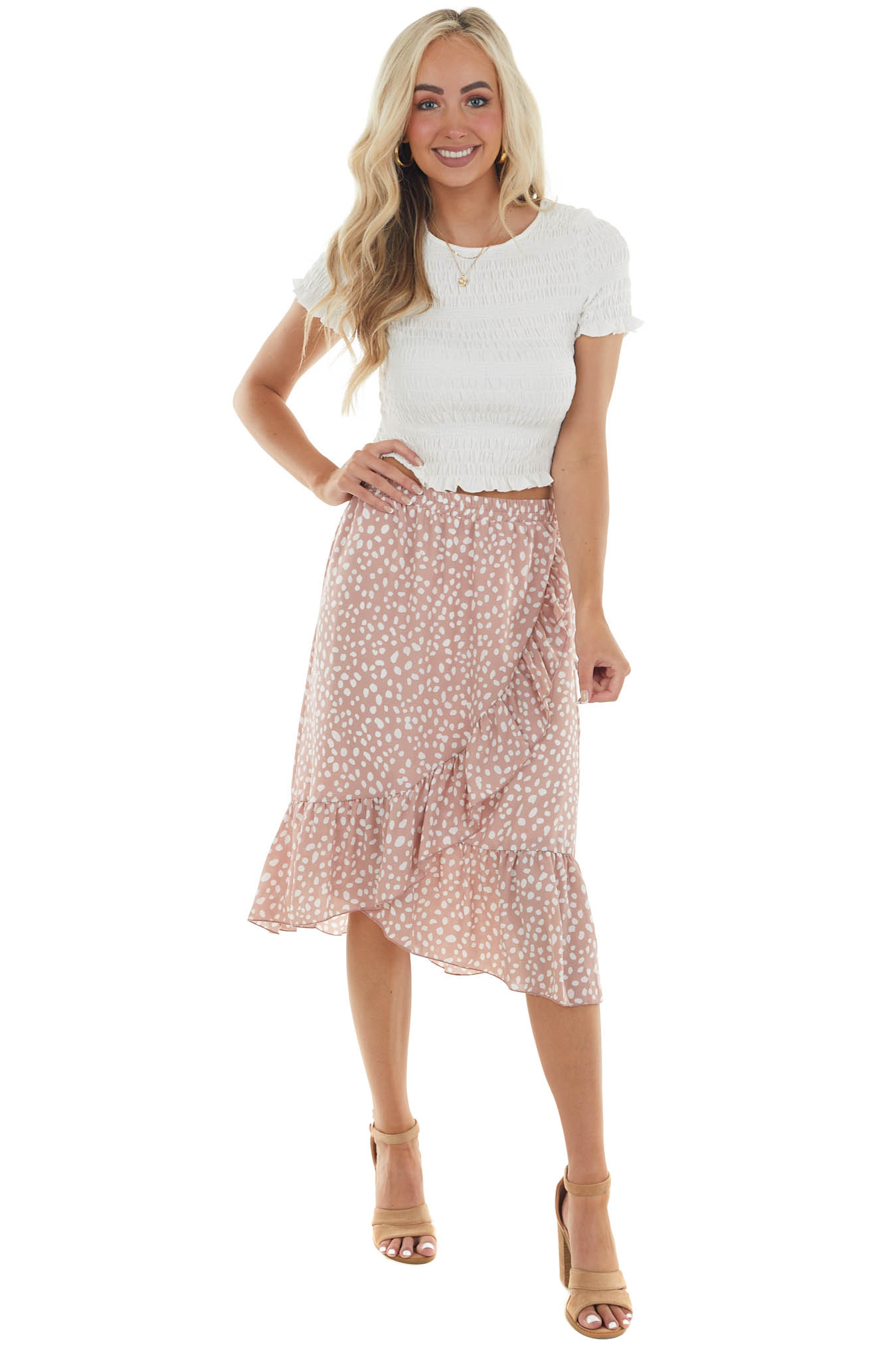 Rose Taupe Spotted Ruffle Faux Wrap Midi Skirt
