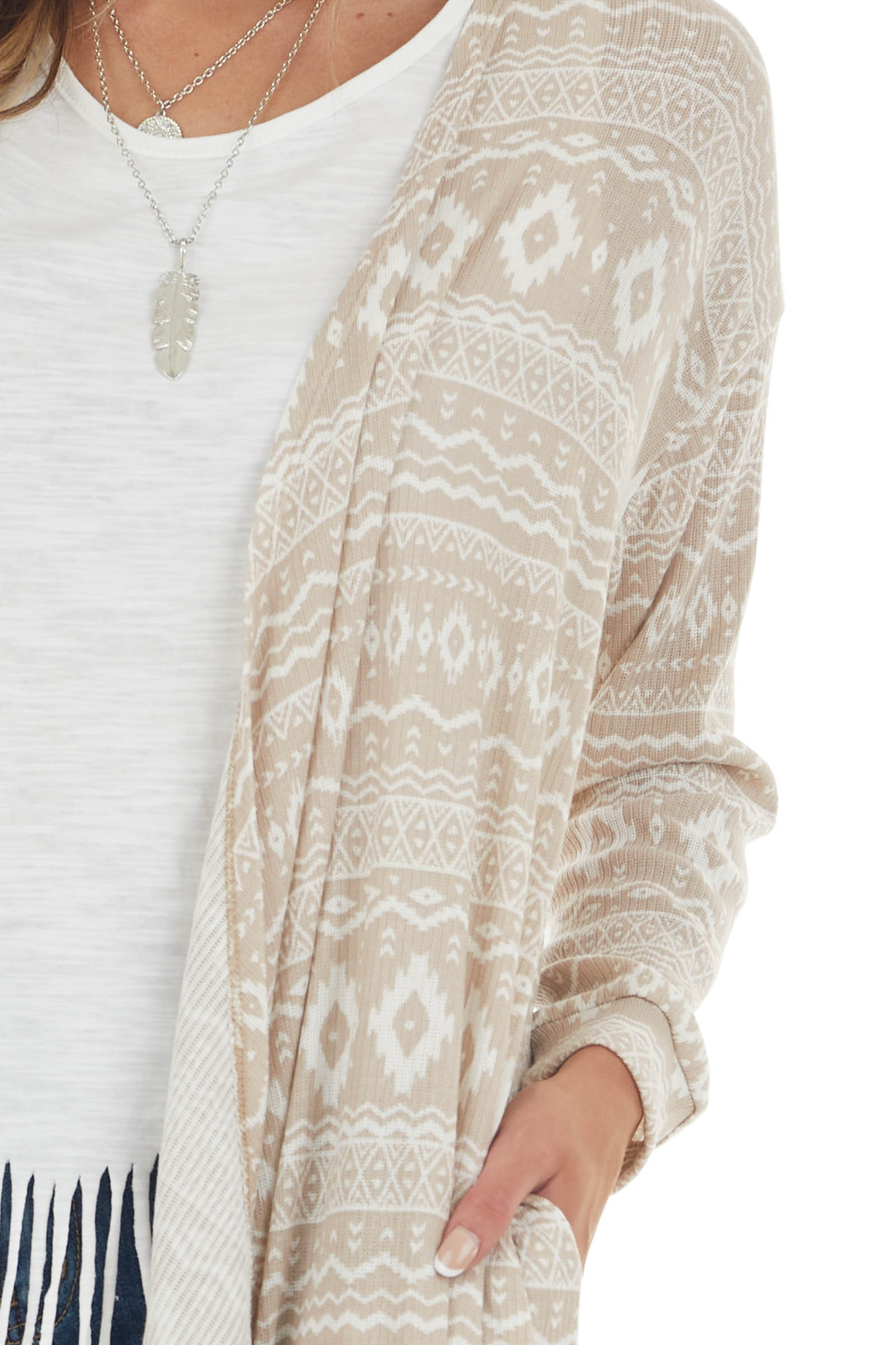 Oatmeal and Ivory Abstract Print Knit Cardigan
