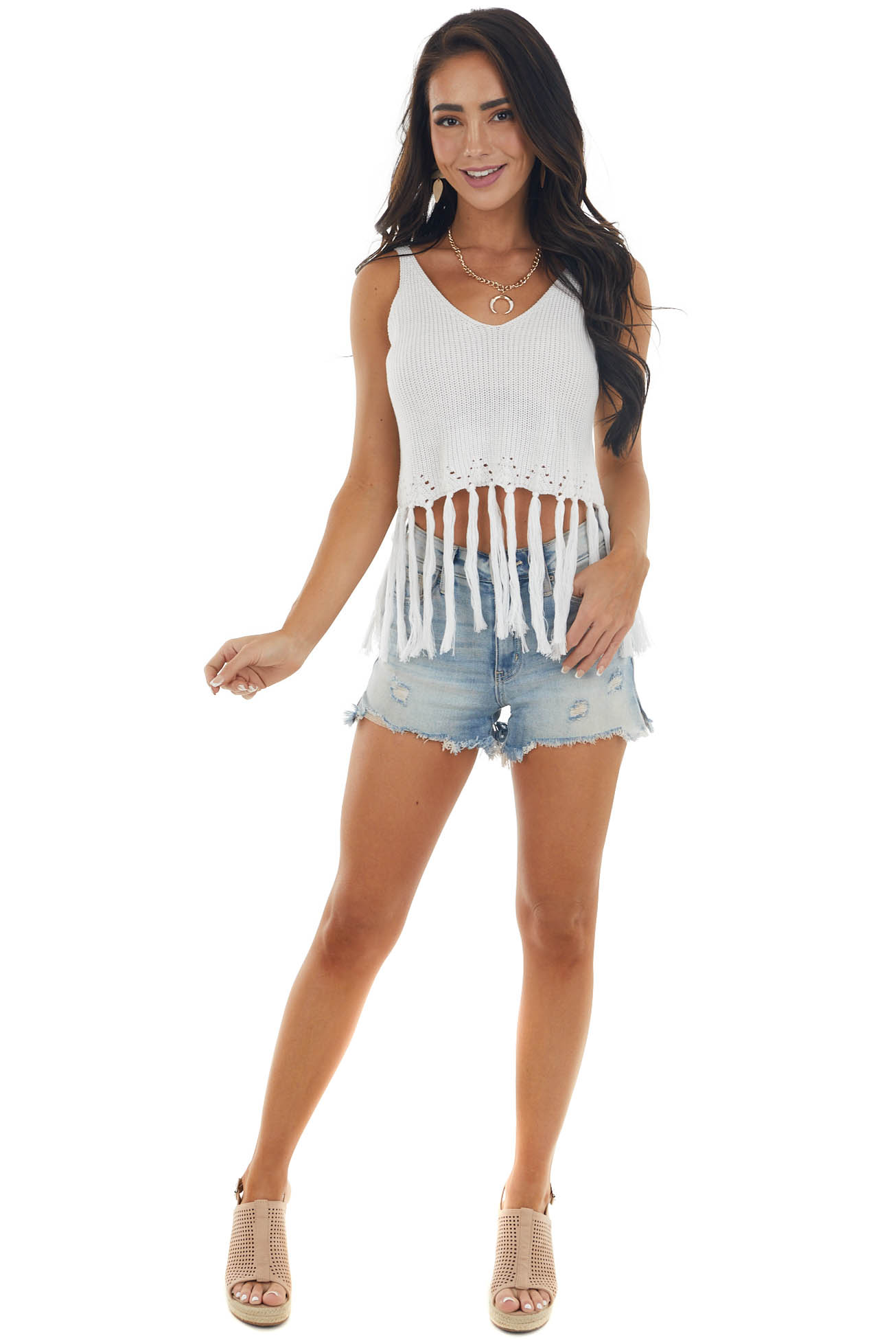 Off White Sweater Knit Cropped Fringe Tank Top