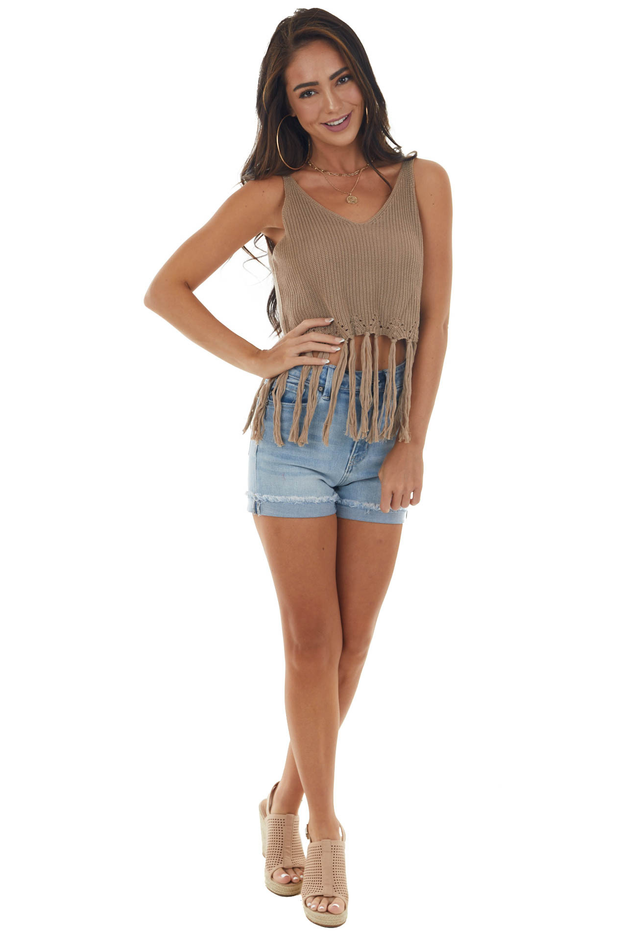 Taupe Sweater Knit Cropped Fringe Tank Top