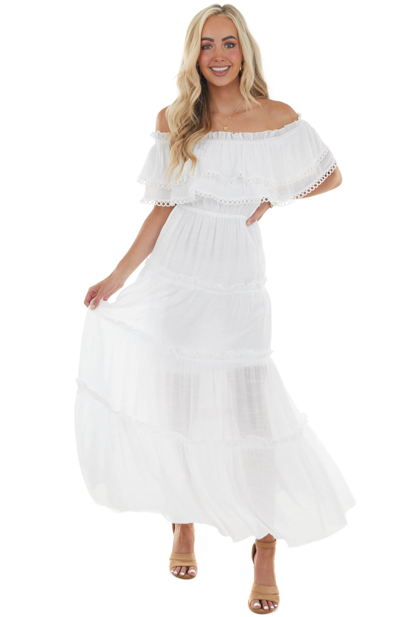 Off White Off the Shoulder Tiered Maxi Dress