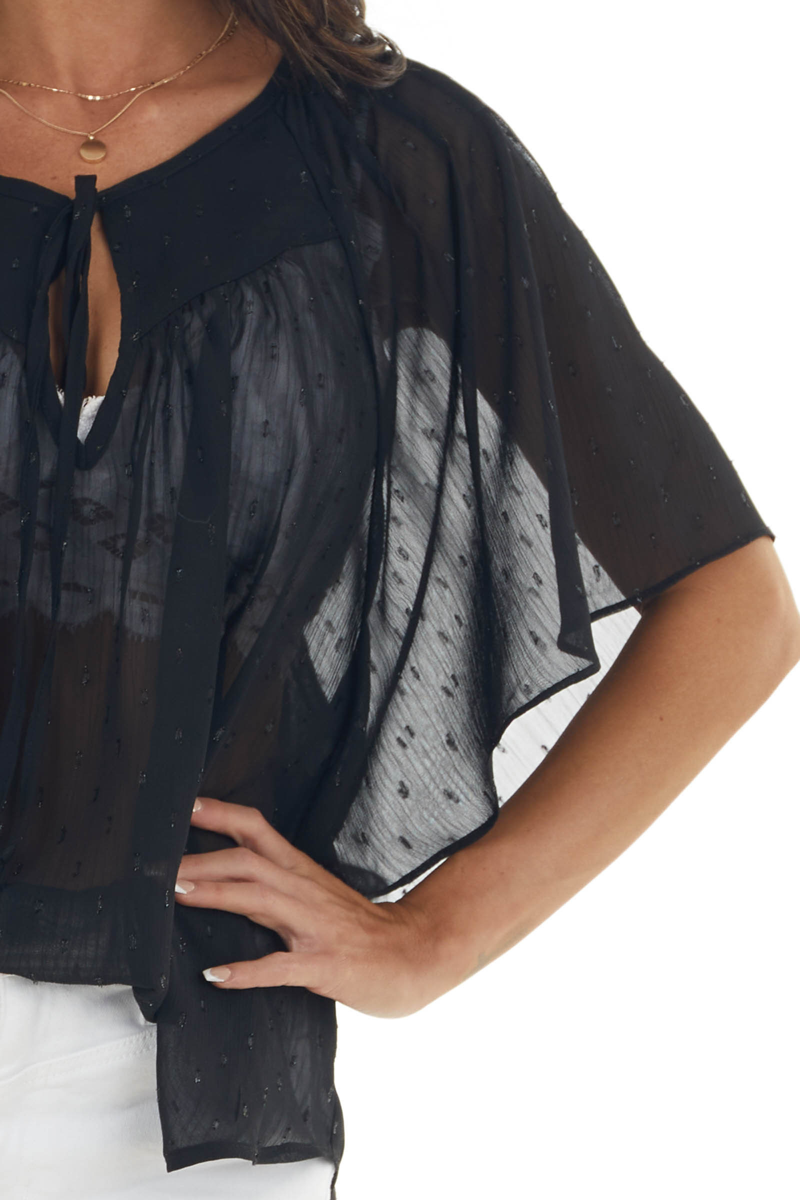 Black Swiss Dot Sheer Blouse with Front Tie