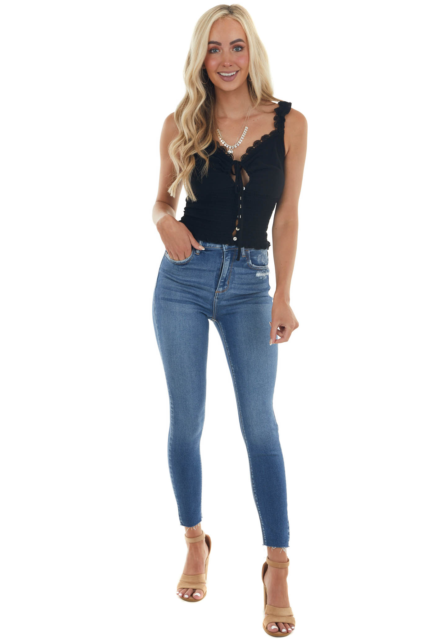 Black Sleeveless Button Up Smocked Crop Top