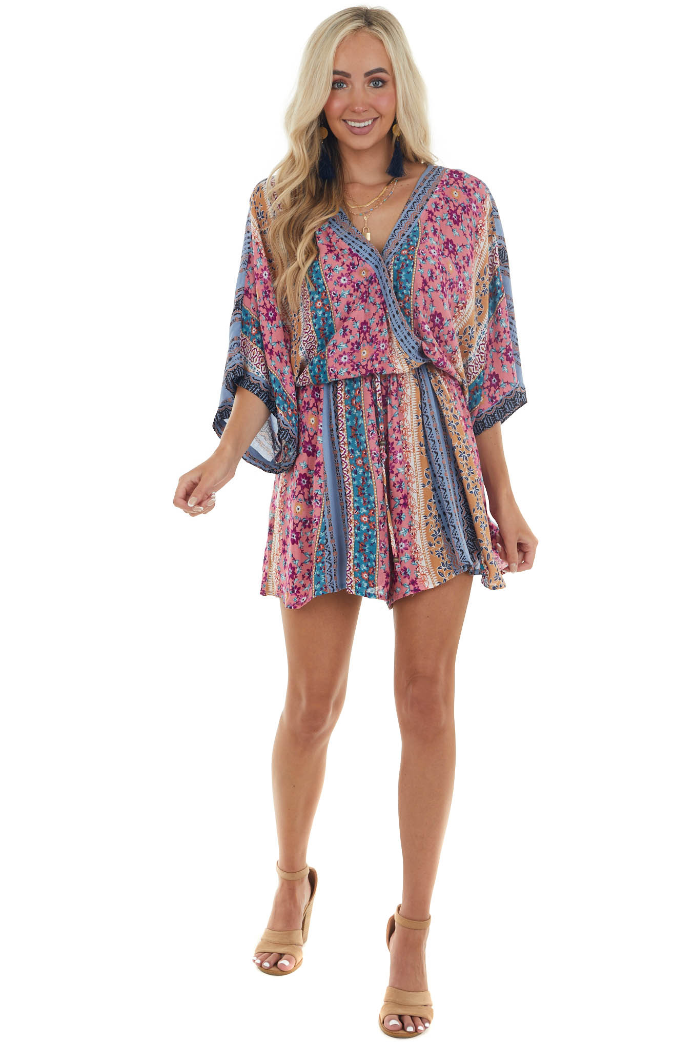 Punch Abstract Printed Romper with Waist Tie