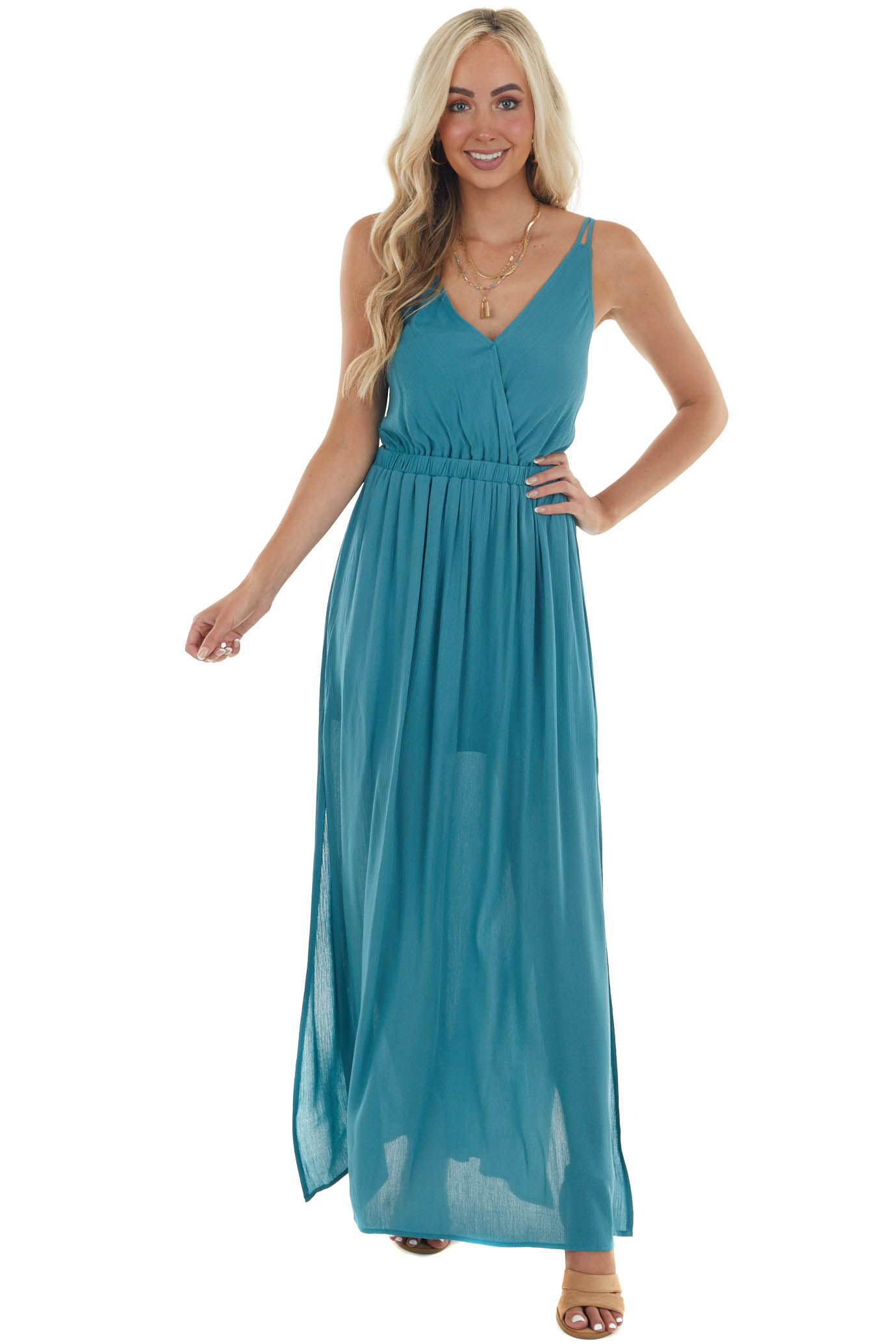 Teal V Neck Maxi Dress with Straps
