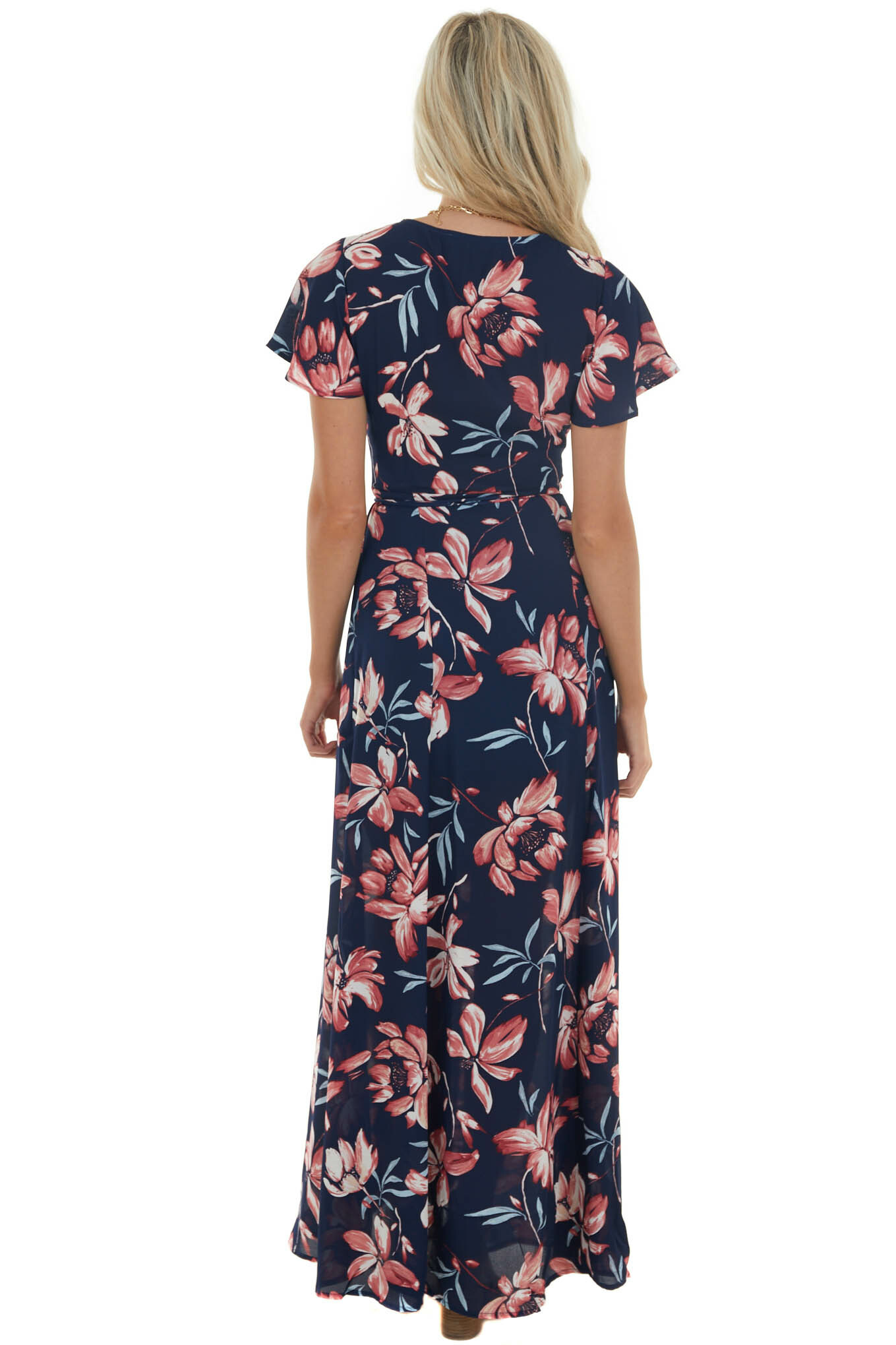 Navy Floral Print Wrap Maxi Dress with Tie