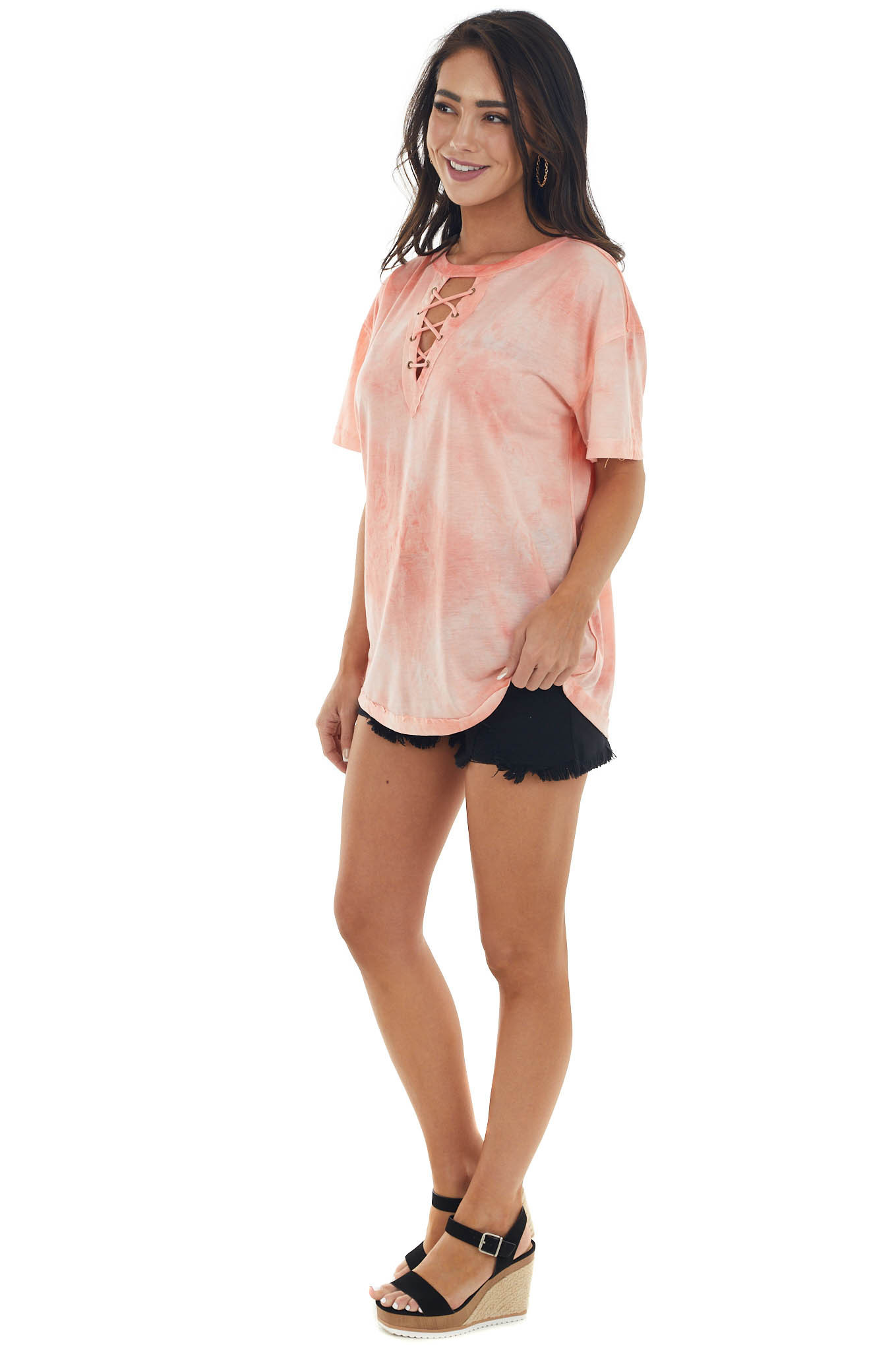 Coral Tie Dye Lace Up V Neck Short Sleeve Tee