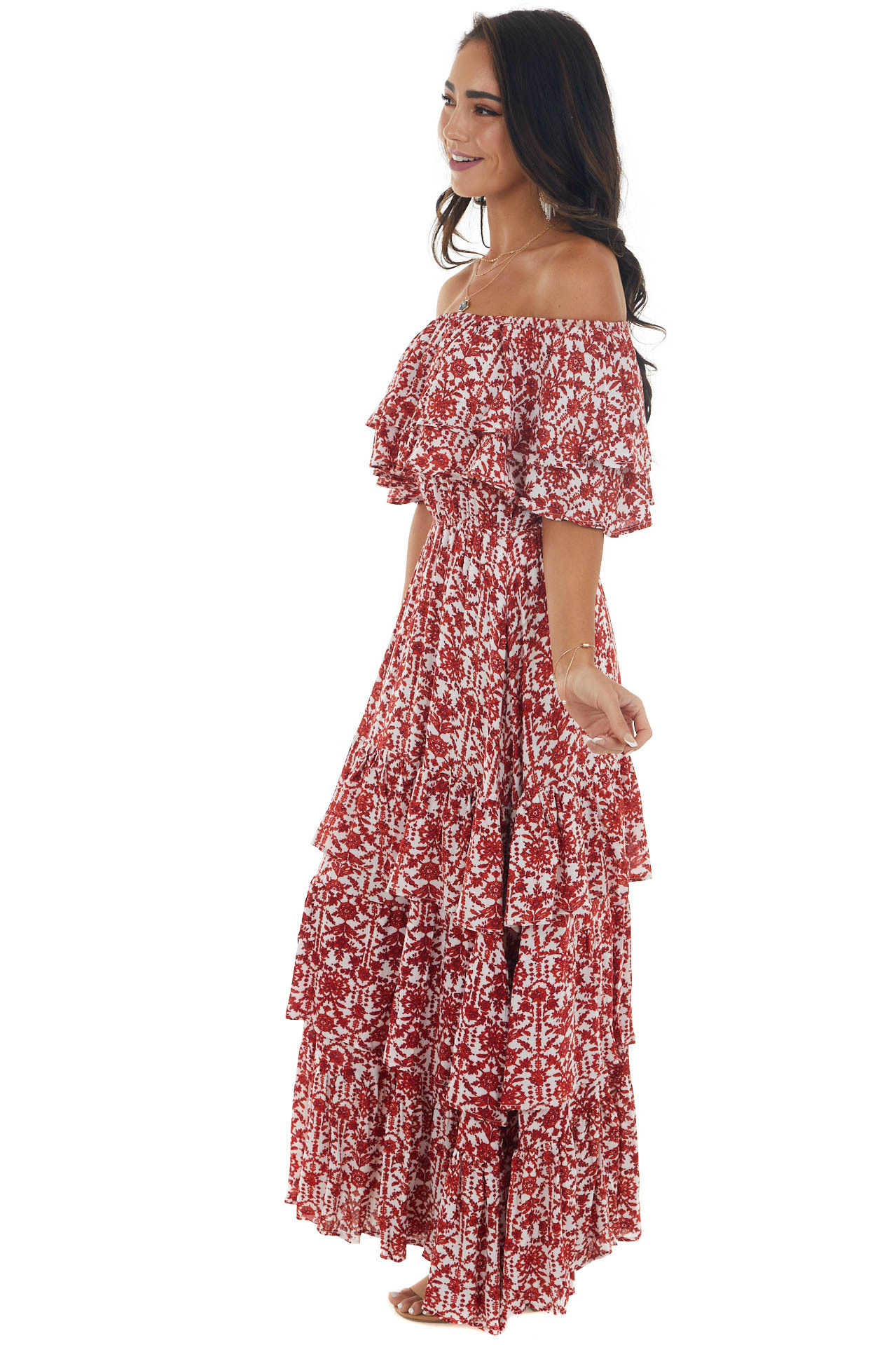 Ivory and Red Floral Off Shoulder Maxi Dress