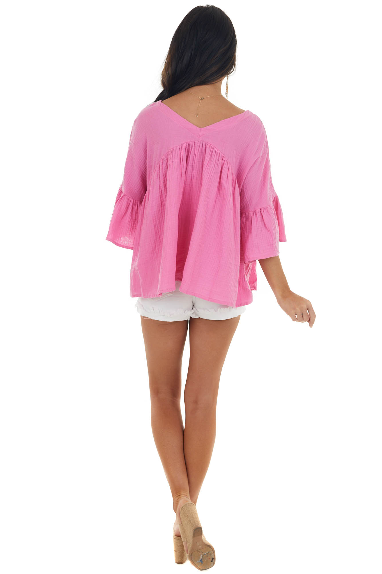 Thulian Pink Button Down Flare Sleeve Blouse