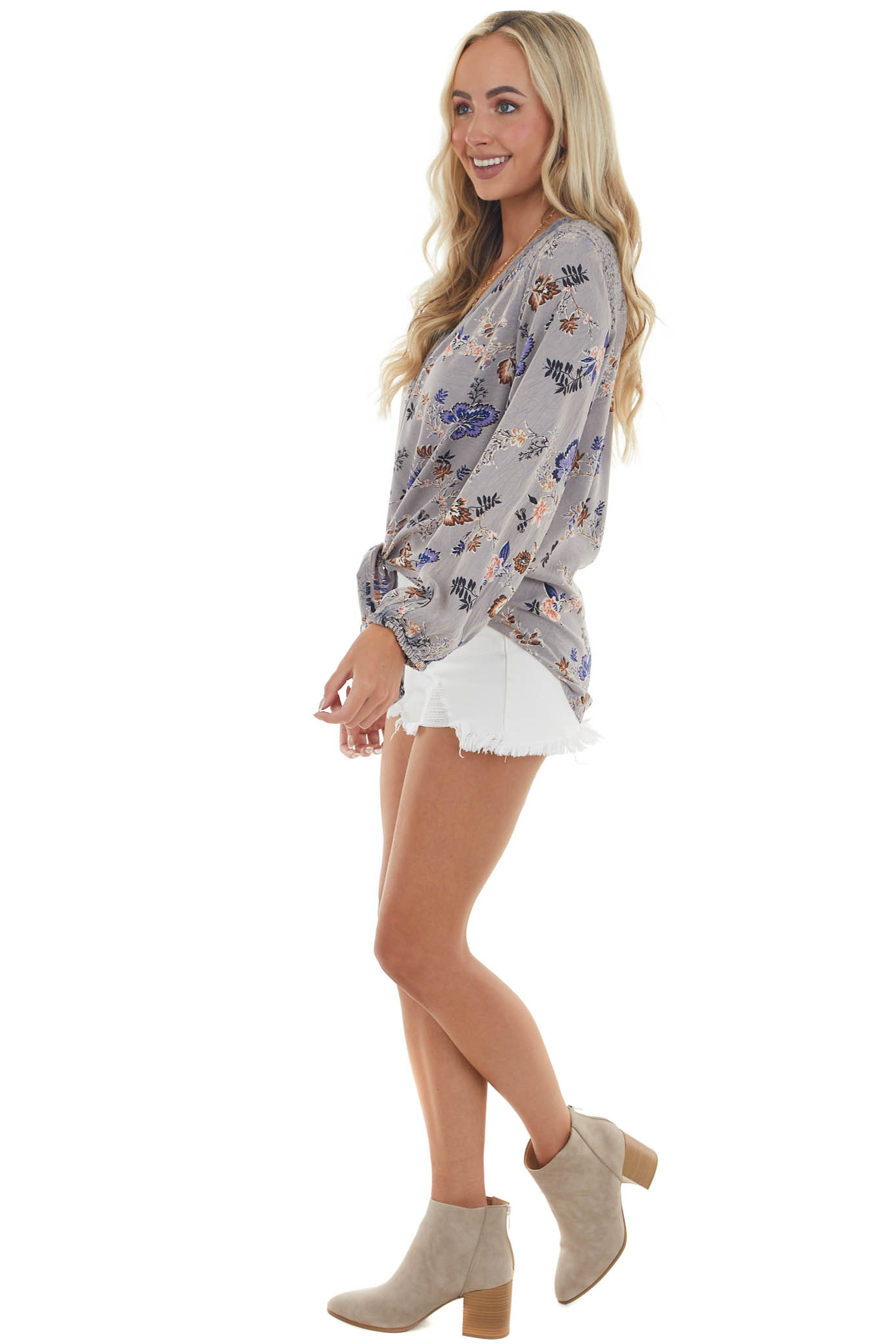 Slate Blue Floral Long Sleeve Front Tie Blouse