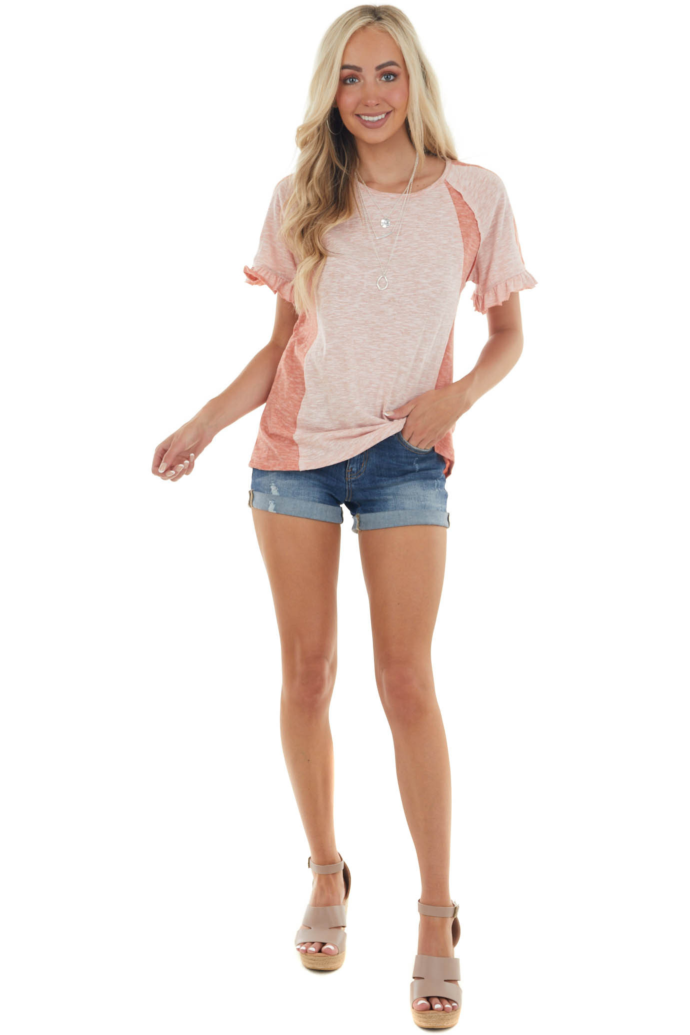 Dusty Blush and Salmon Short Sleeve Knit Top