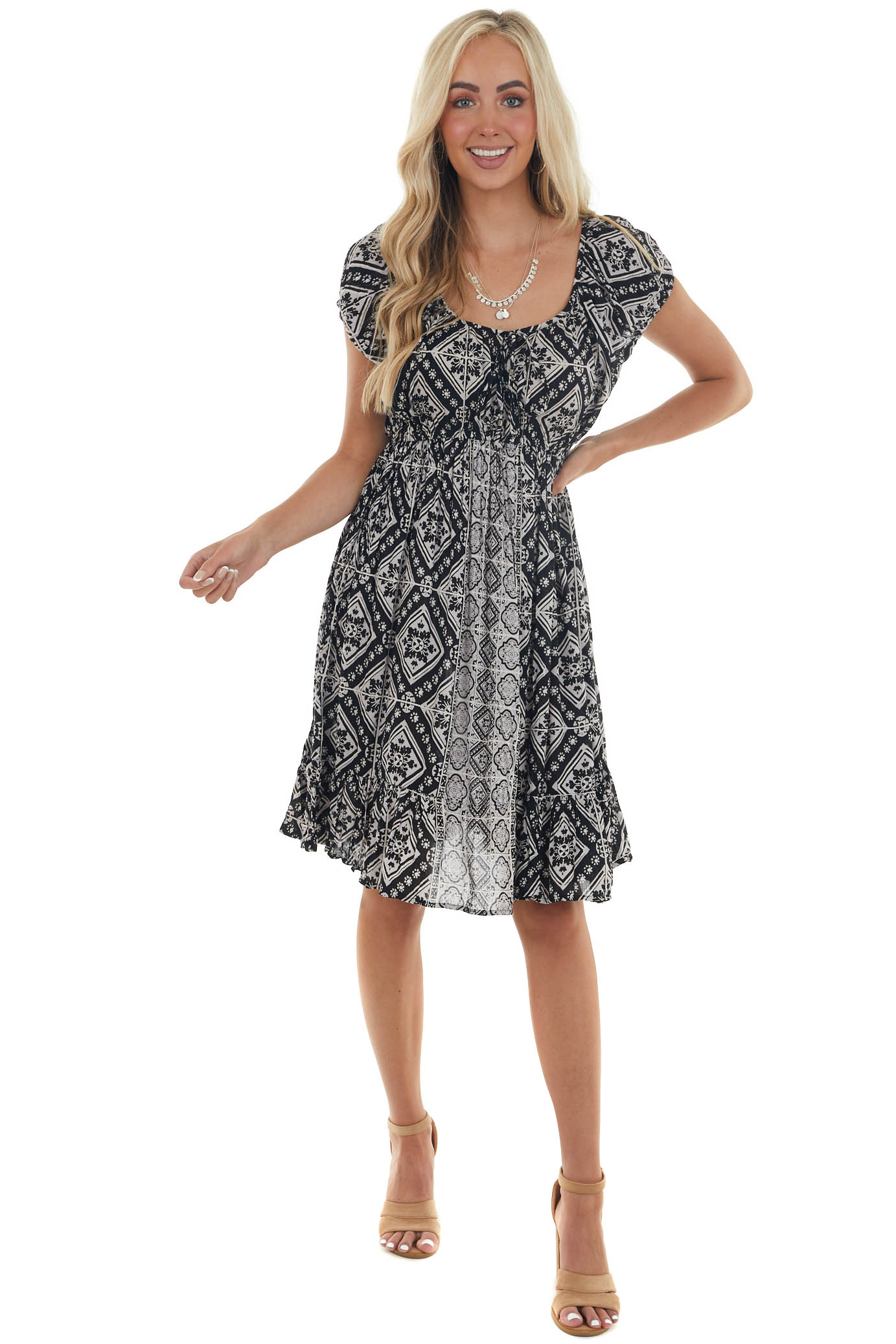 Black and Off White Abstract Print Mini Dress