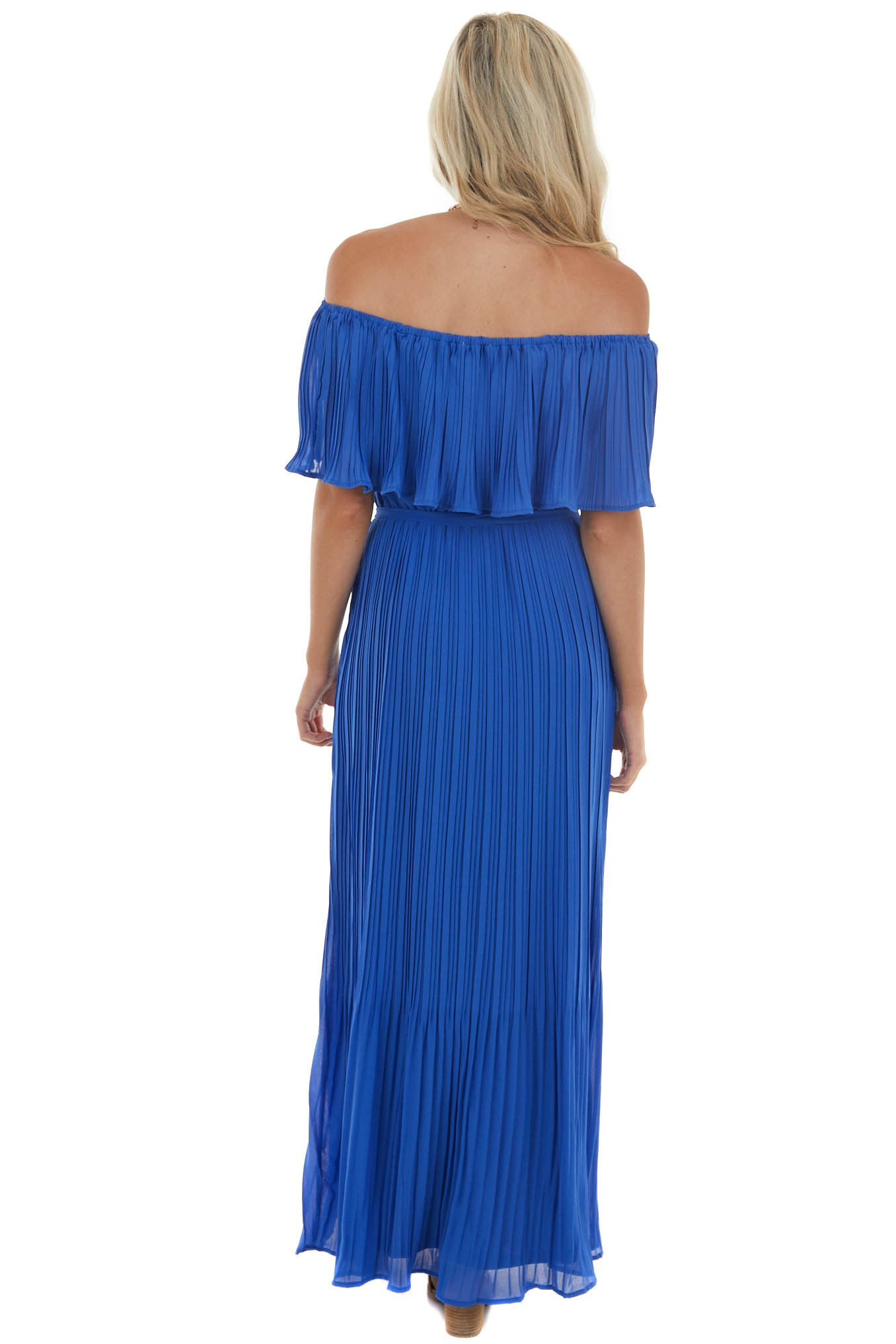Cobalt Pleated Maxi Dress with Overlay Bust and Waist Tie