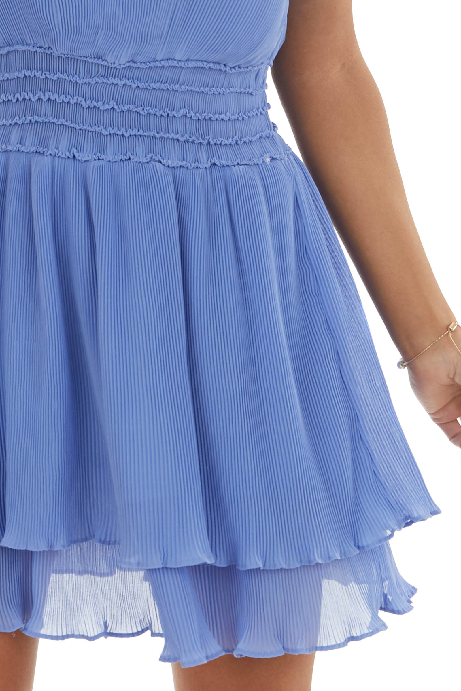 Periwinkle Pleated Short Knit Dress with Smocked Waistline