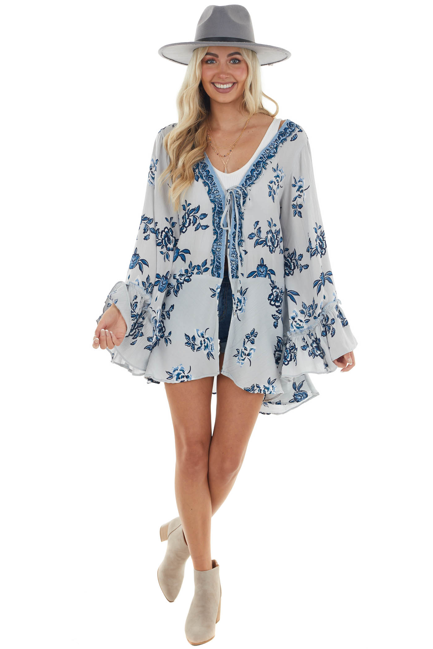 Slate and Teal Floral Print Front Tie Kimono