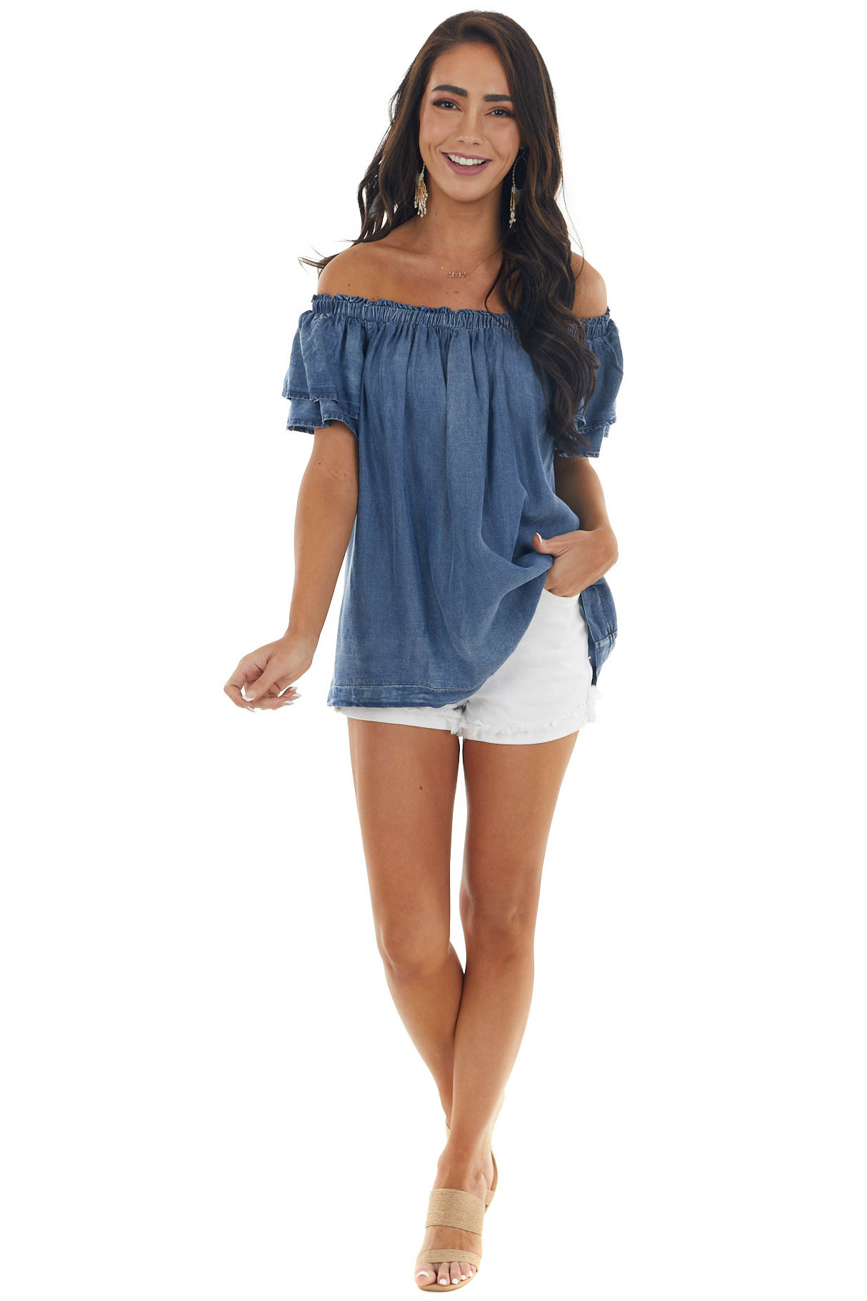 Dark Wash Chambray Off the Shoulder Blouse