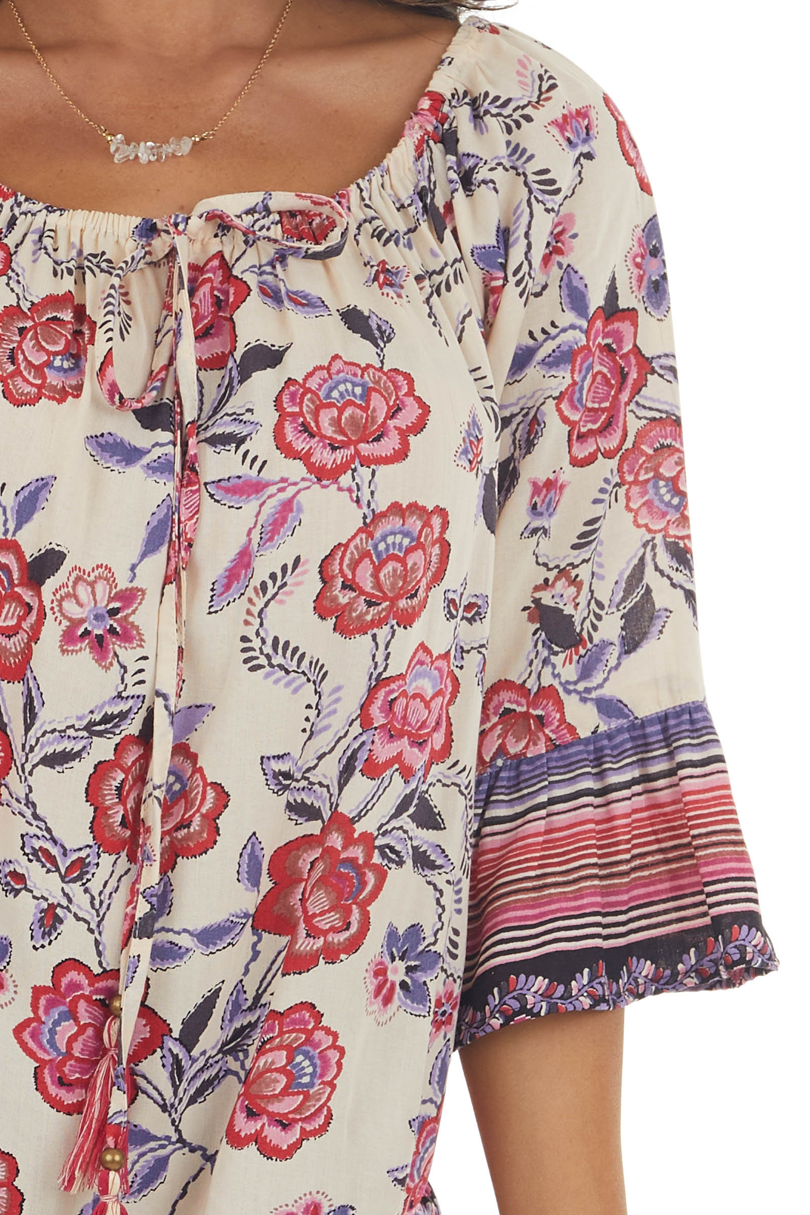 Desert Sand and Hot Pink Floral Print Blouse
