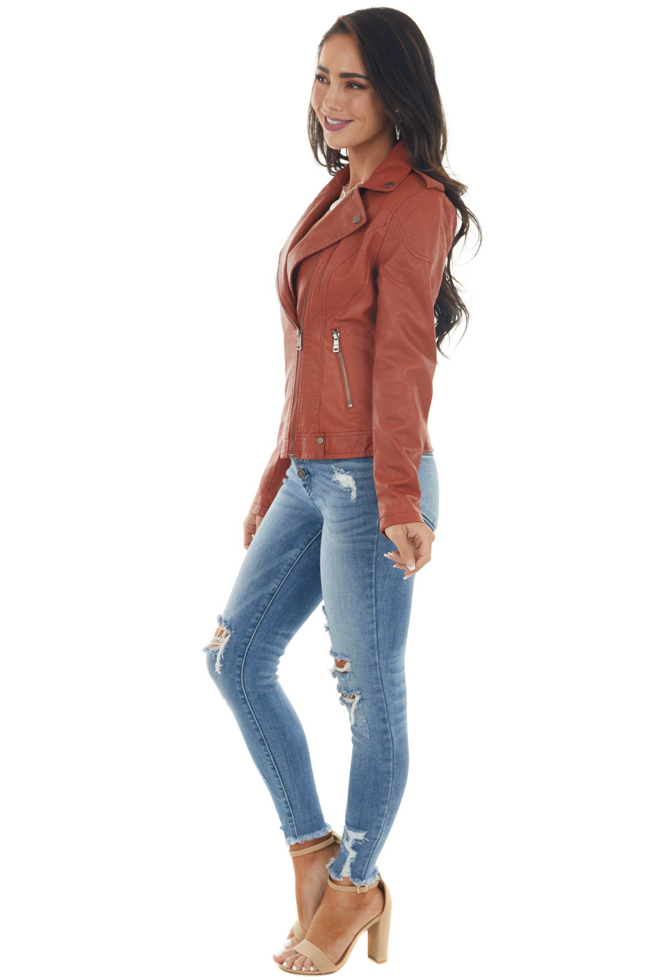 Rust Faux Leather Moto Jacket with Smocked Detail