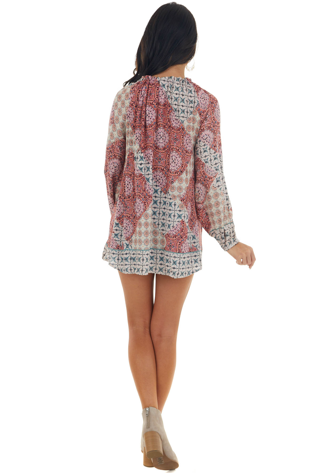 Terracotta Printed Boat Neck Cut Out Woven Top