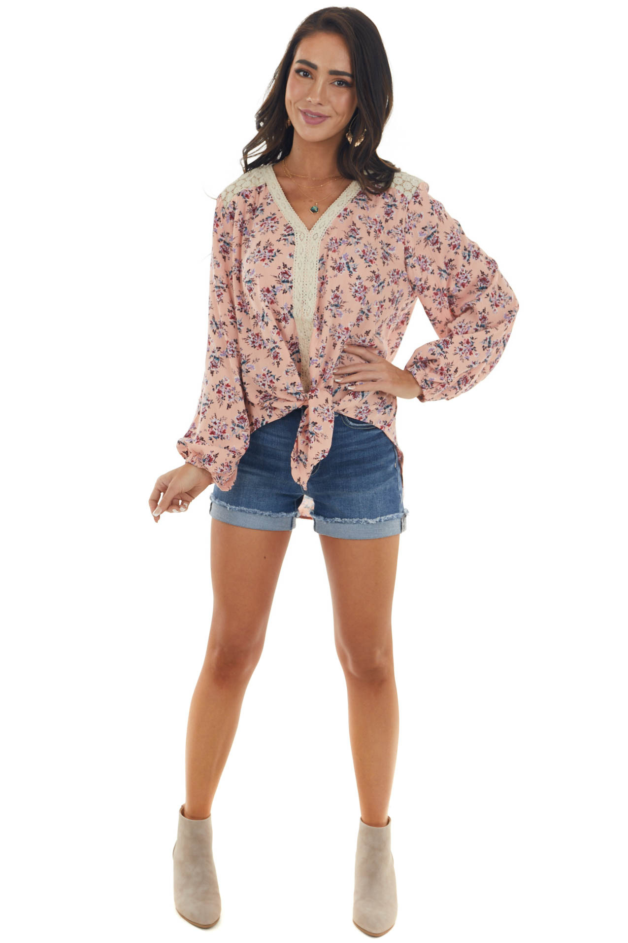 Pale Coral Long Sleeve Floral Front Tie Blouse