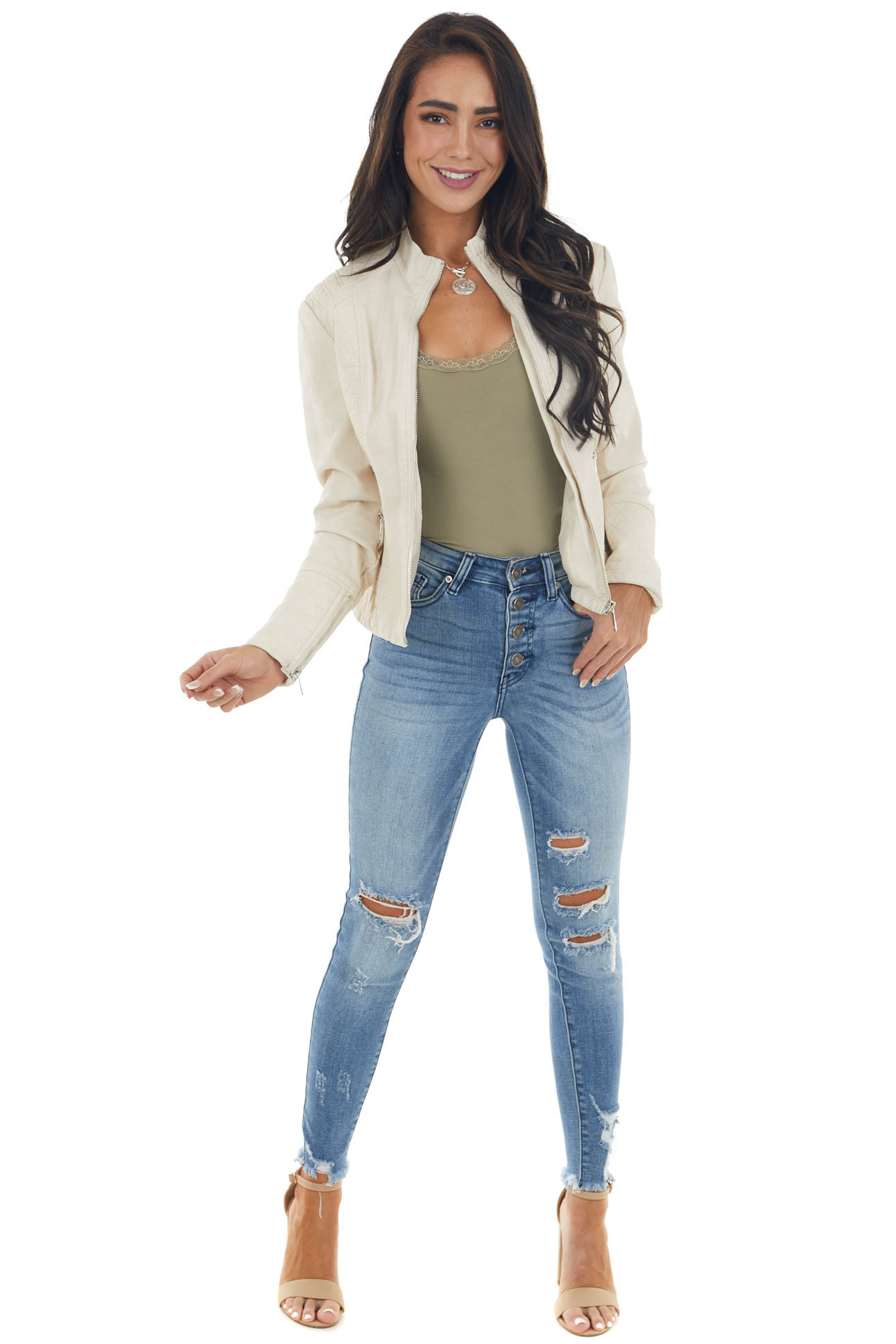 Champagne High Neck Faux Leather Moto Jacket