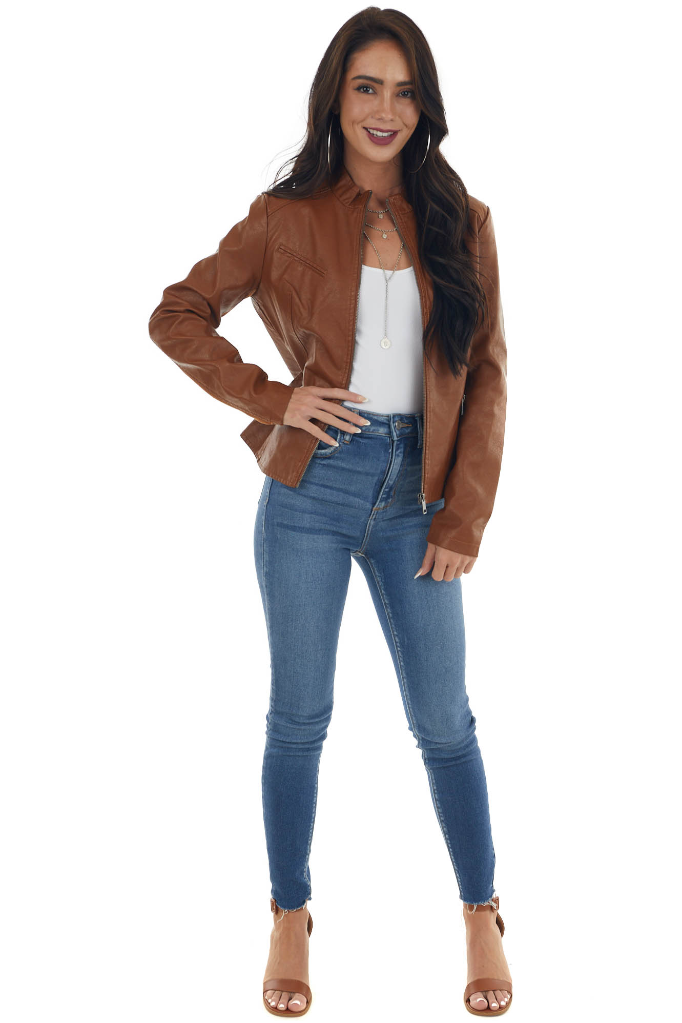 Spice Faux Leather and Faux Suede Moto Jacket