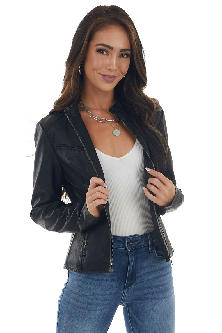 Black Faux Leather and Faux Suede Moto Jacket