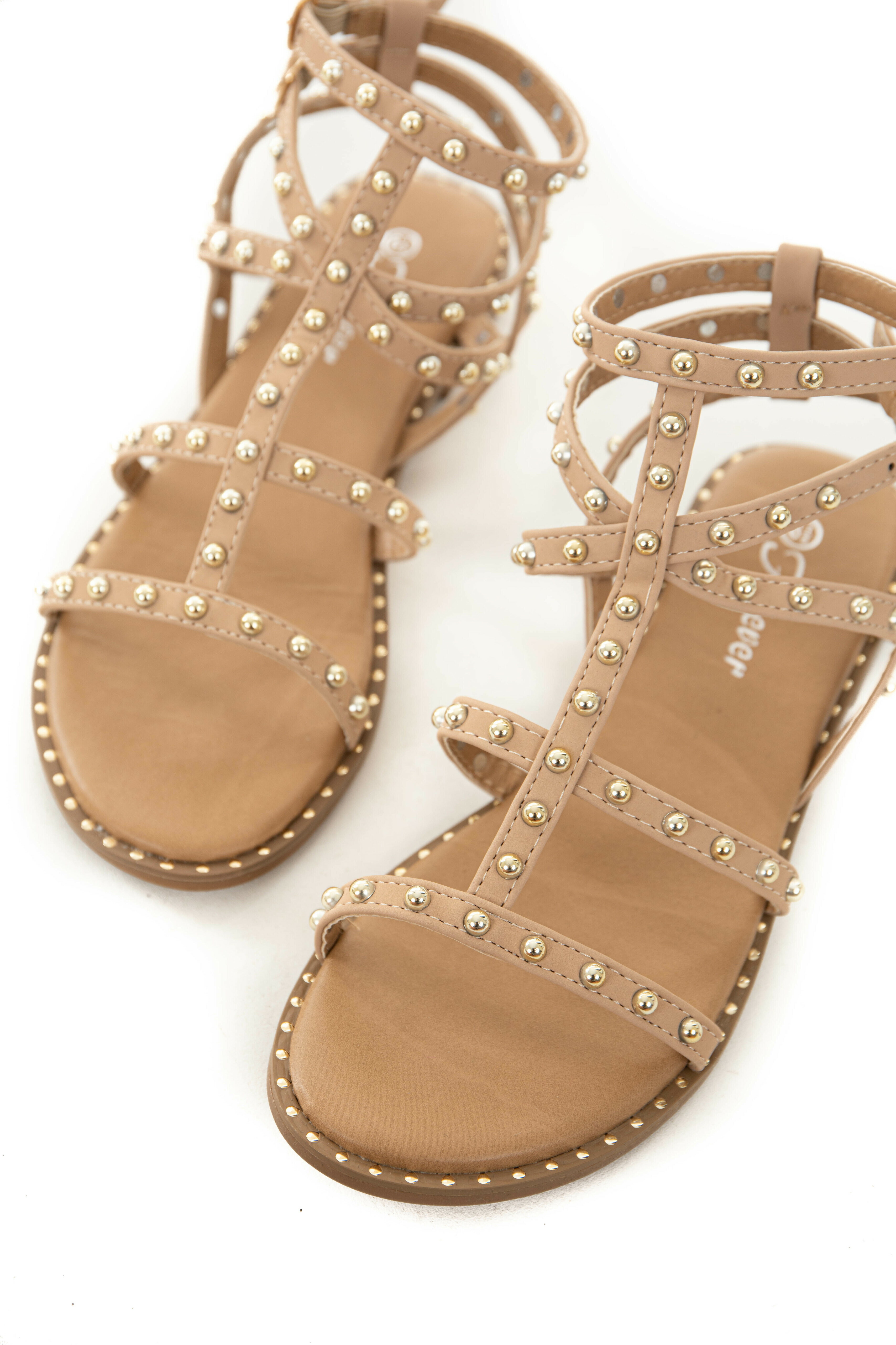 Latte Ankle Strap Sandals with Silver Stud and Bead Details
