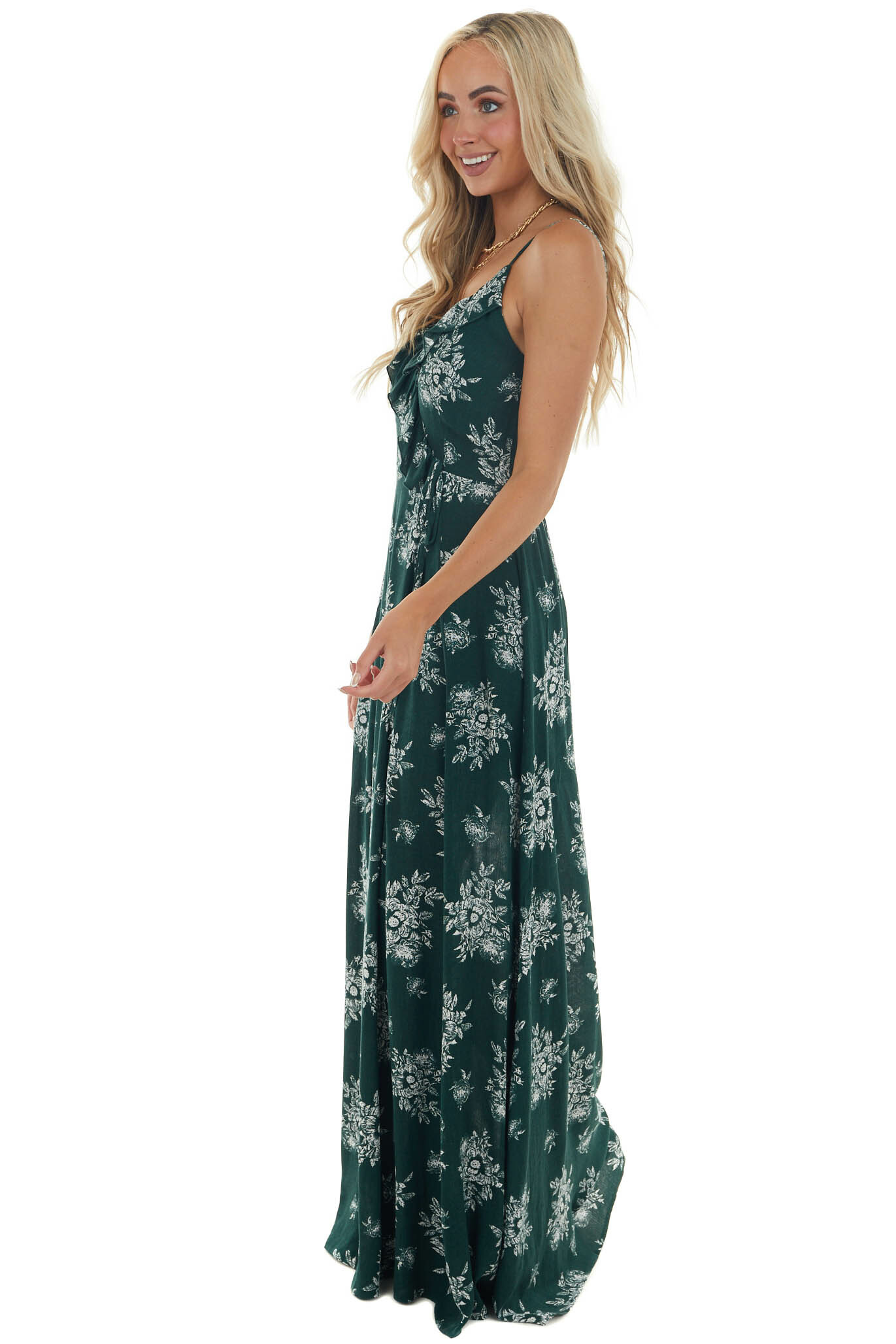 Forest Green and Ivory Floral Print Maxi Dress