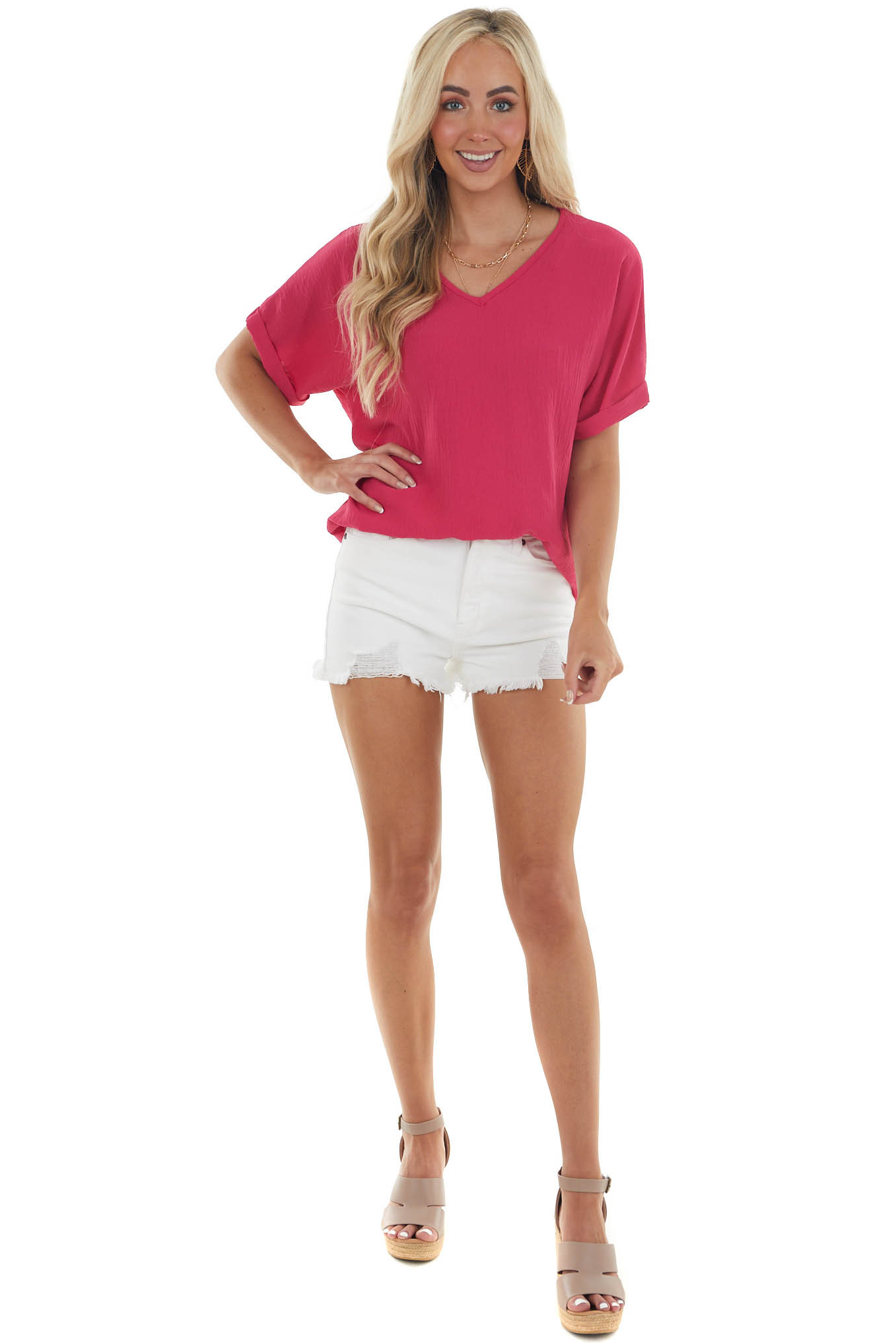 Raspberry Short Sleeve V Neck Woven Top with High Low Hem