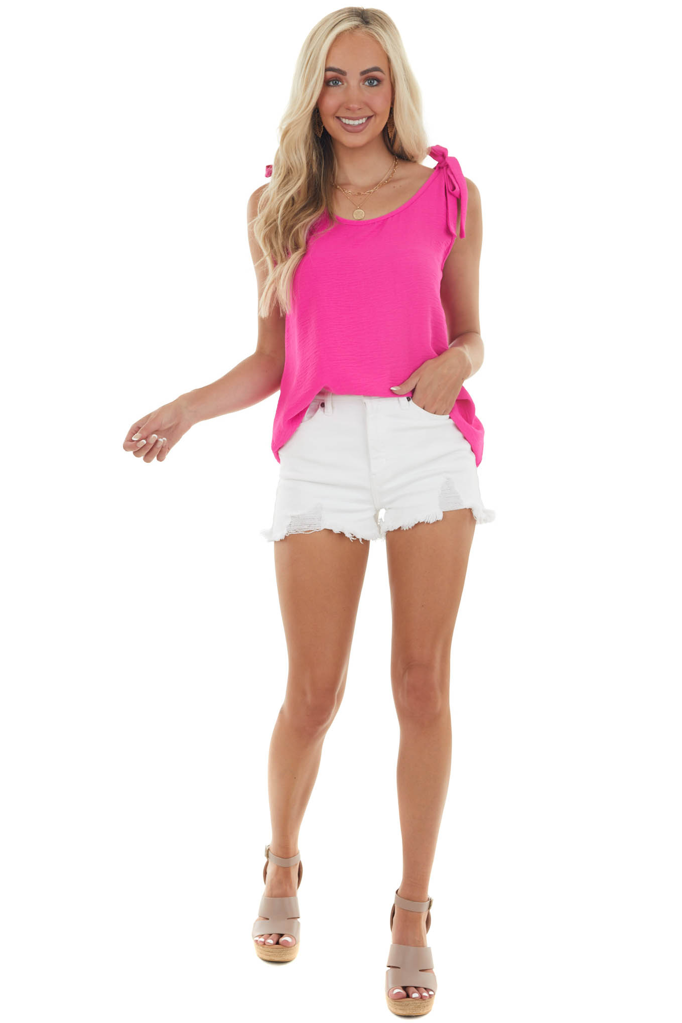 Hot Pink Woven Tank with Strap Tie Details