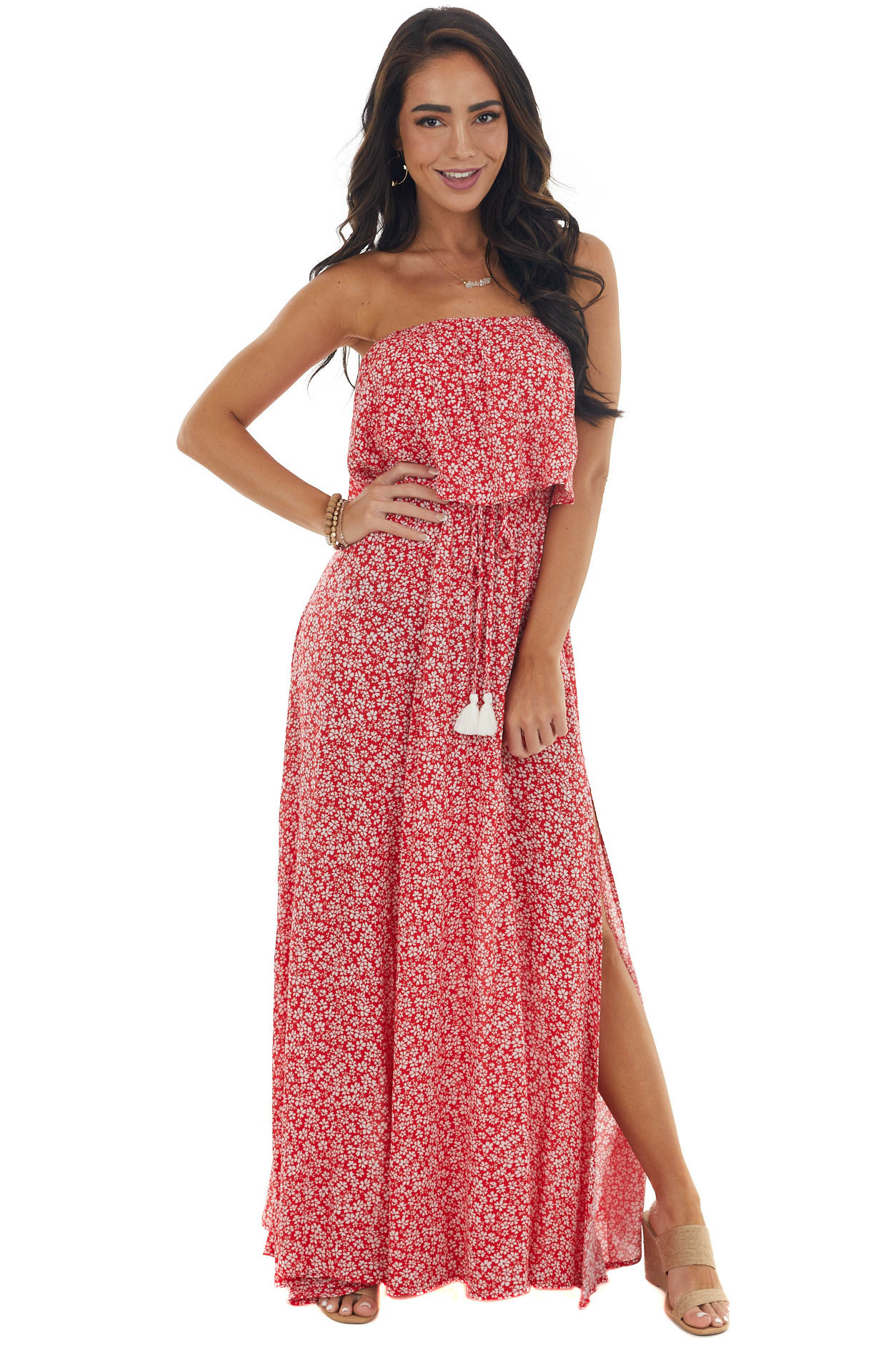 Scarlet Red Ditsy Floral Strapless Maxi Dress