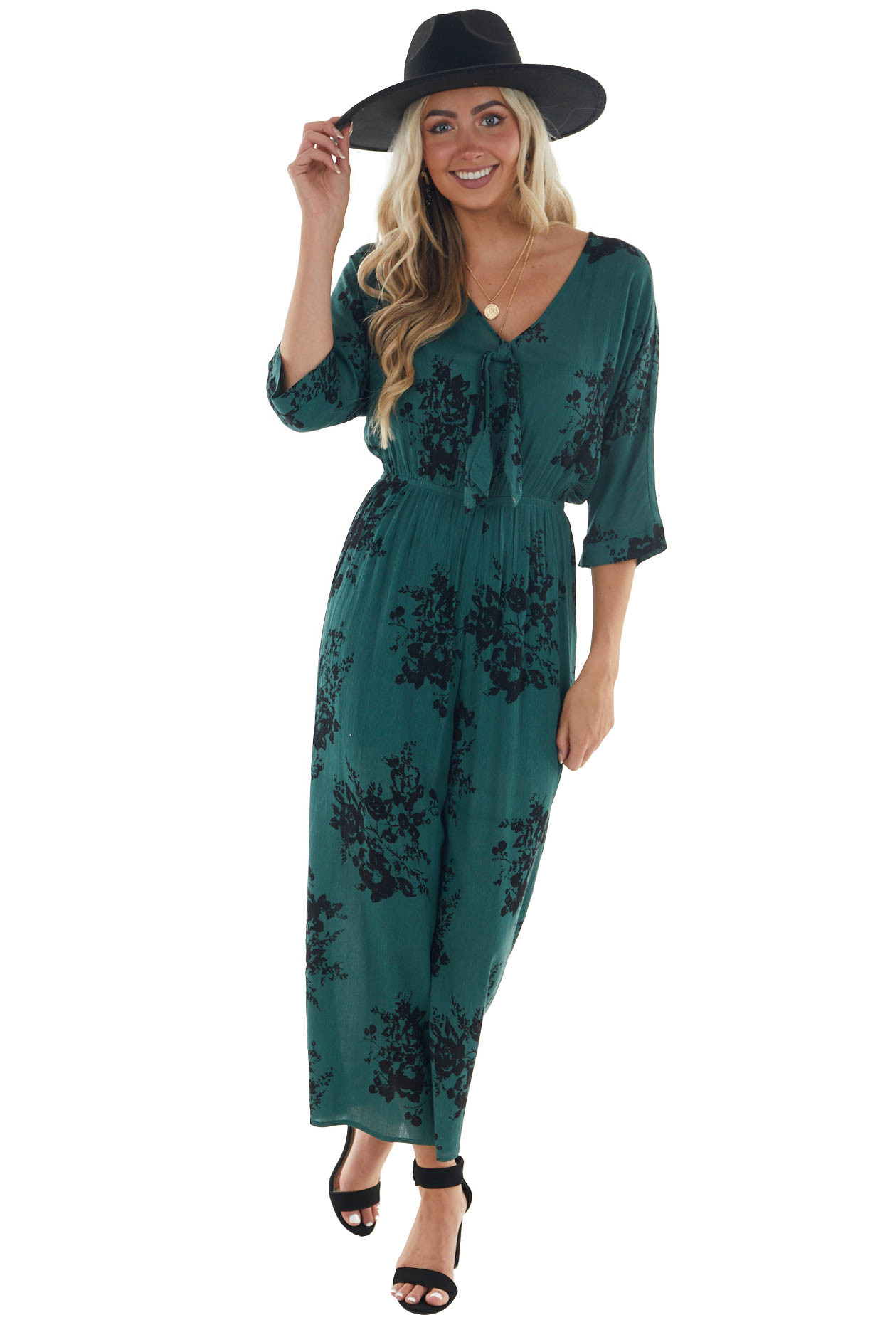 Forest Green and Black Floral Print Jumpsuit