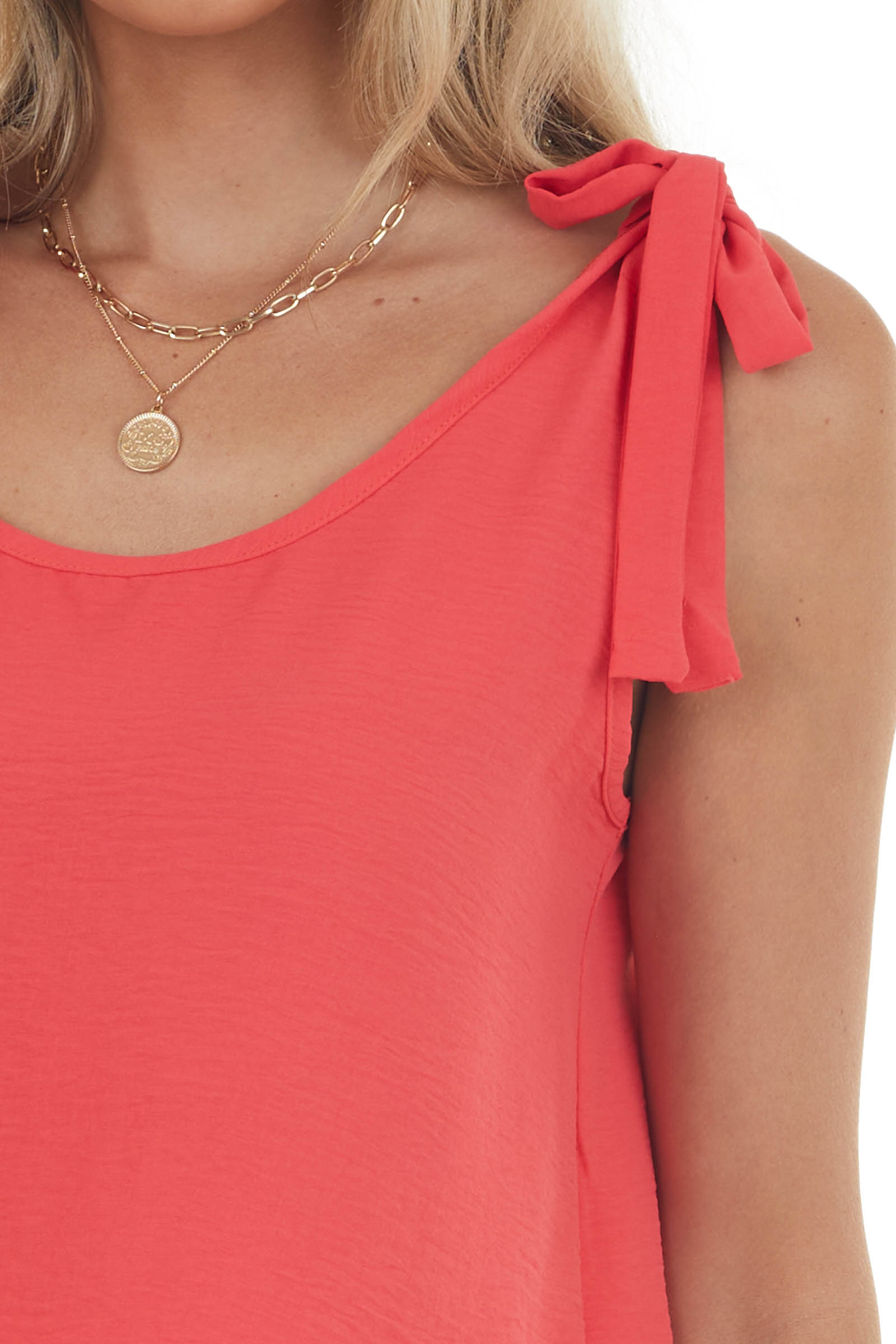 Neon Coral Woven Tank with Strap Tie Details